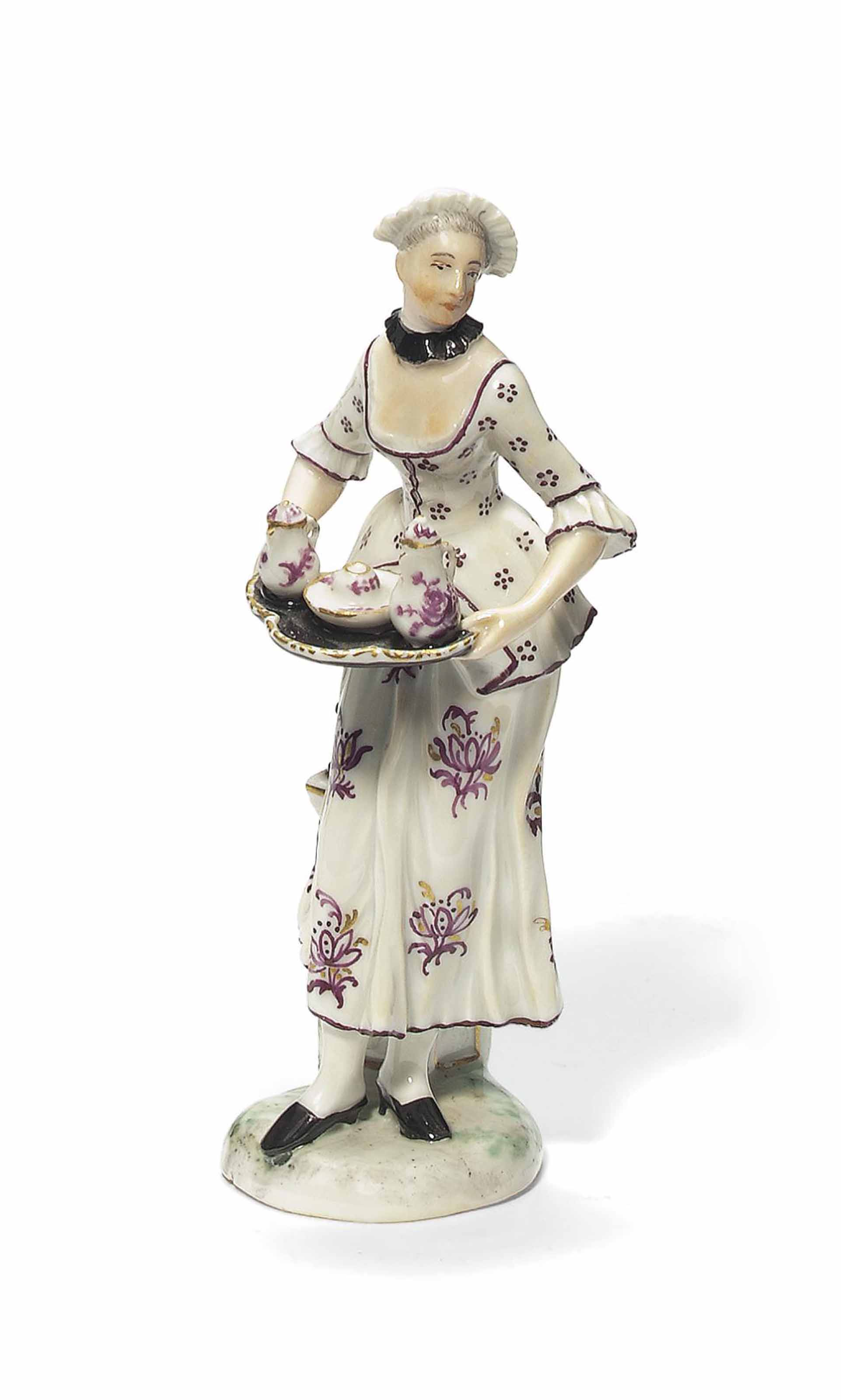 A LUDWIGSBURG FIGURE OF A MAIDSERVANT