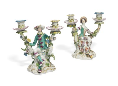 A PAIR OF MEISSEN TWO-LIGHT CA