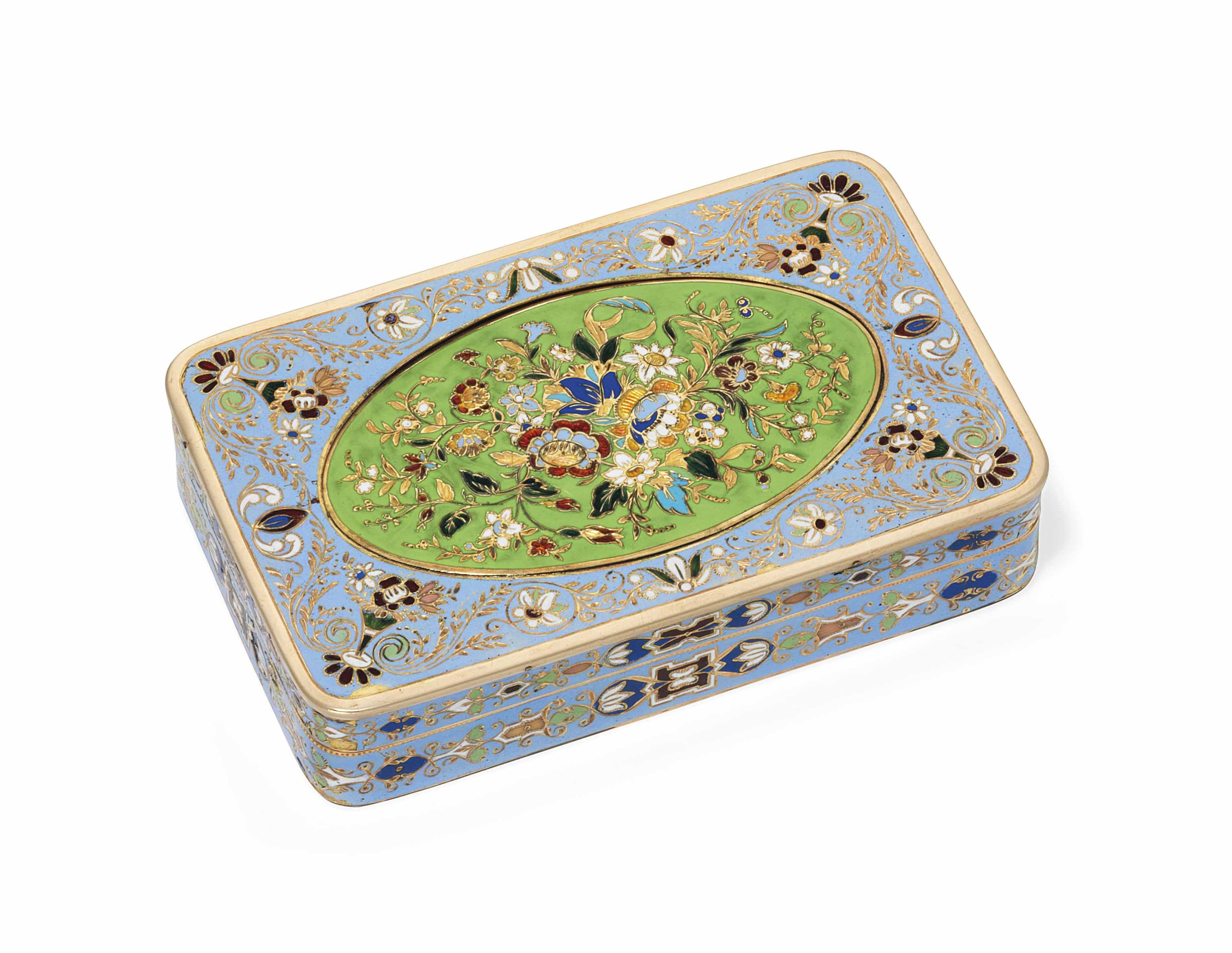 A SWISS ENAMELLED GOLD BOX FOR