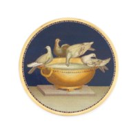 AN ITALIAN GOLD-MOUNTED MICROMOSAIC PLAQUE