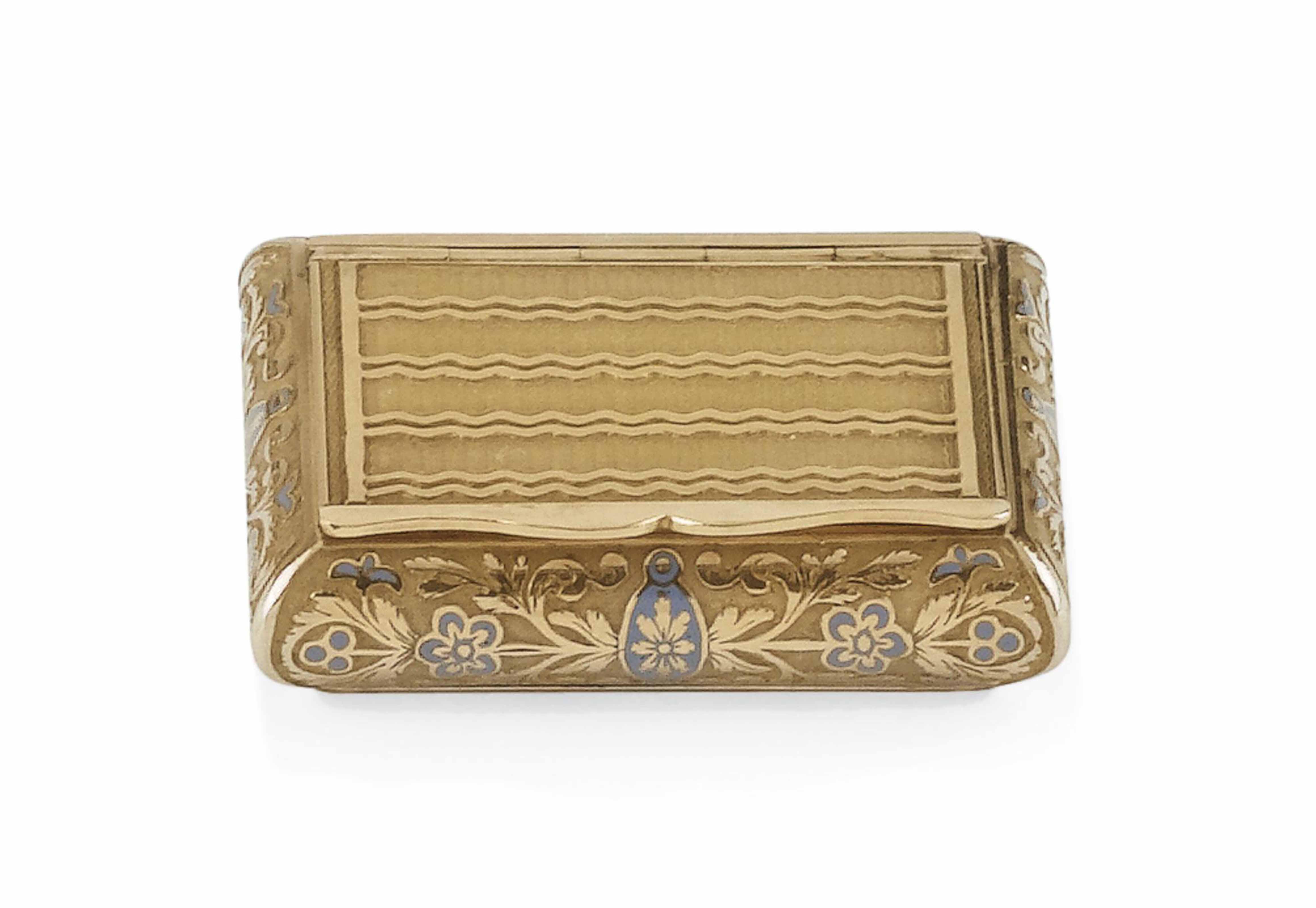 A SWISS ENAMELLED GOLD VINAIGR