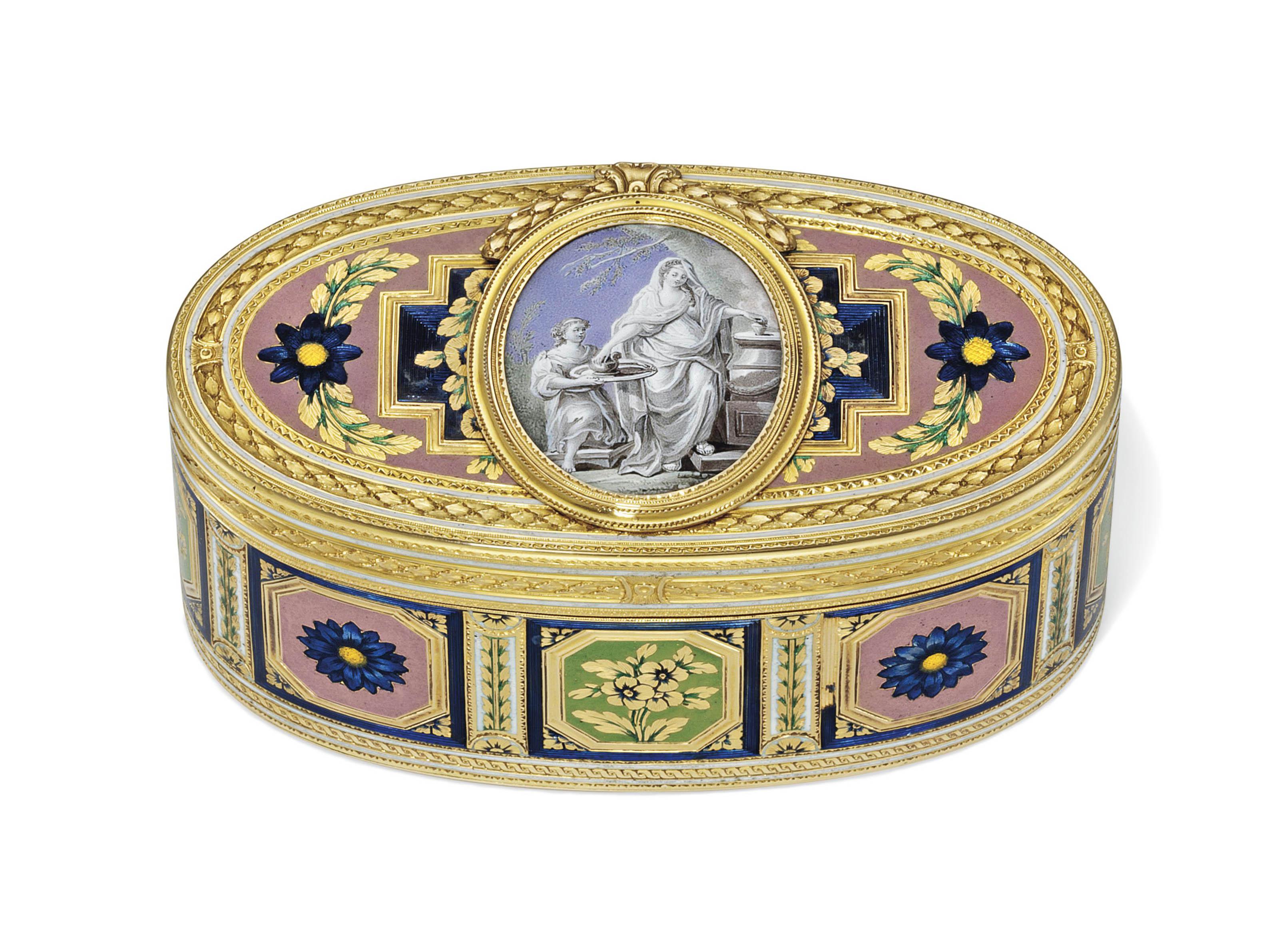 A LOUIS XV ENAMELLED GOLD SNUF
