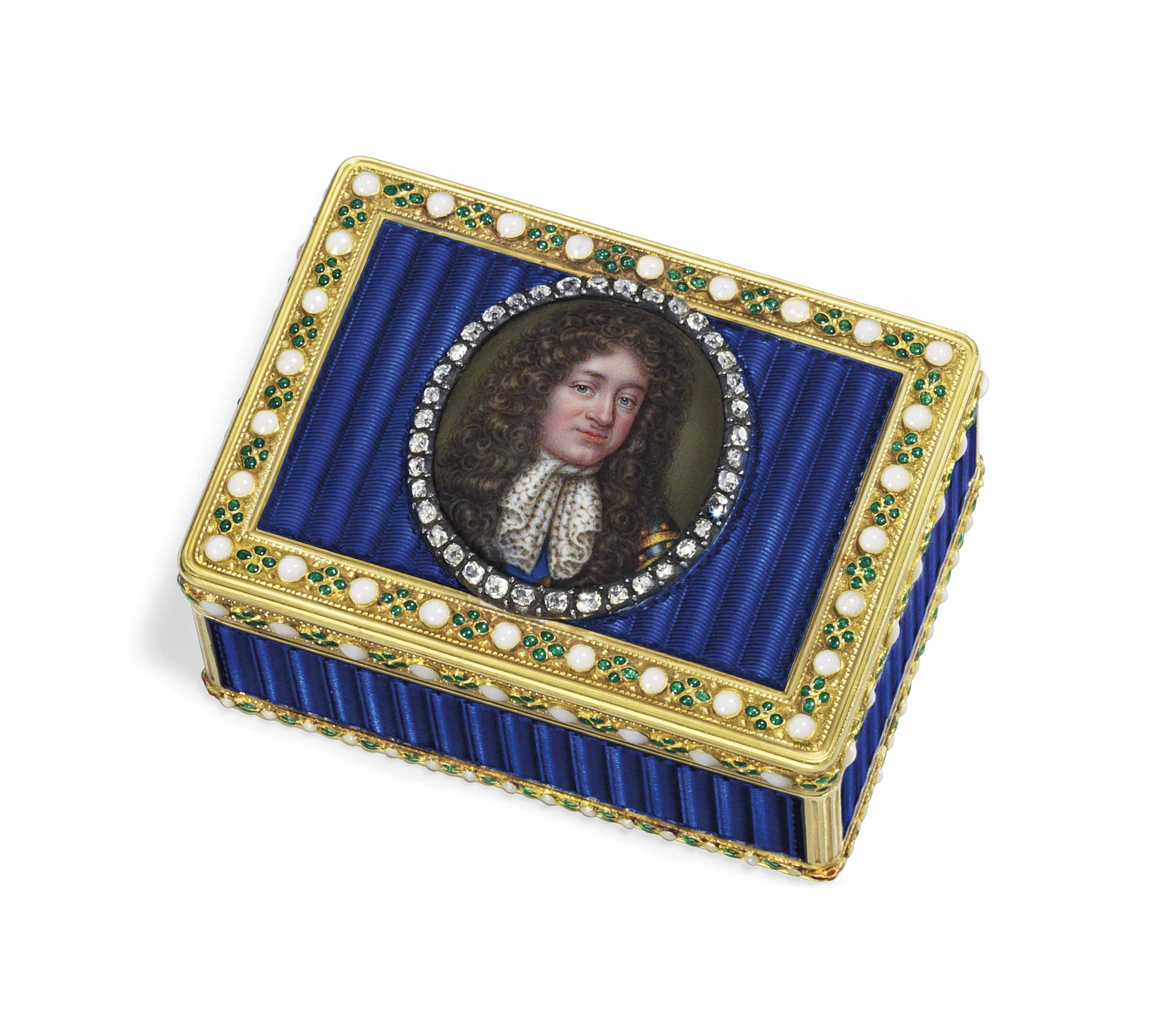 A SWISS OR GERMAN JEWELLED ENAMELLED GOLD SNUFF-BOX SET WITH AN ENAMEL MINIATURE