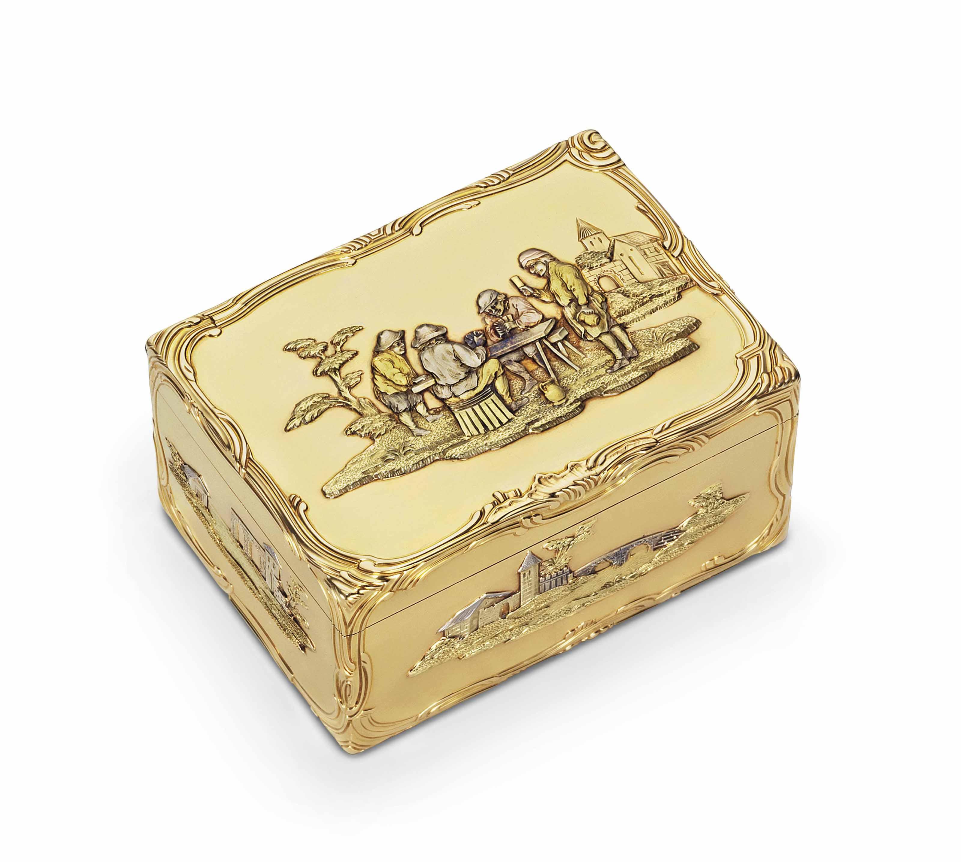 AN IMPORTANT LOUIS XV VARI-COLOUR GOLD SNUFF-BOX