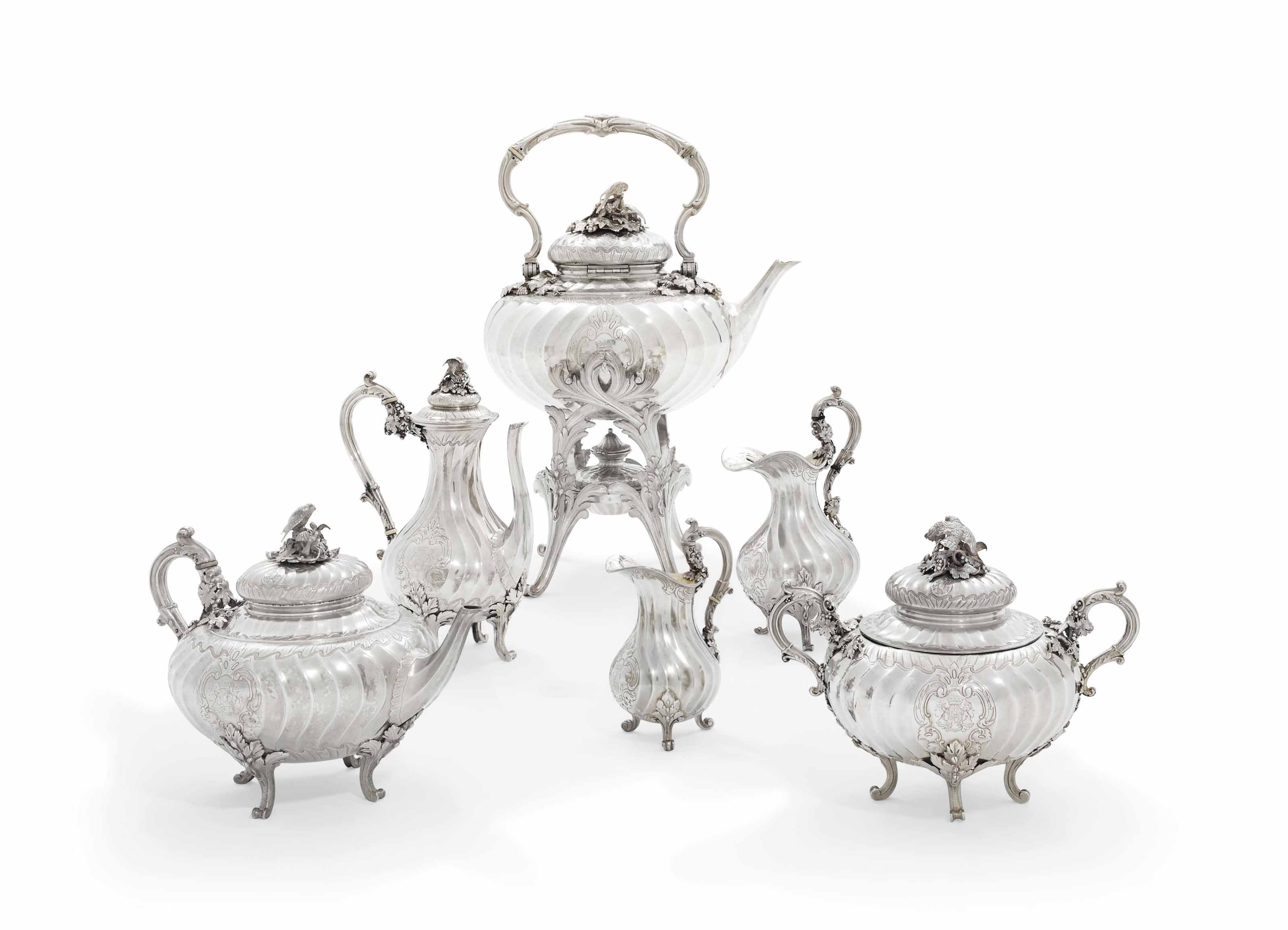 A FRENCH SILVER SIX-PIECE TEA AND COFFEE-SERVICE