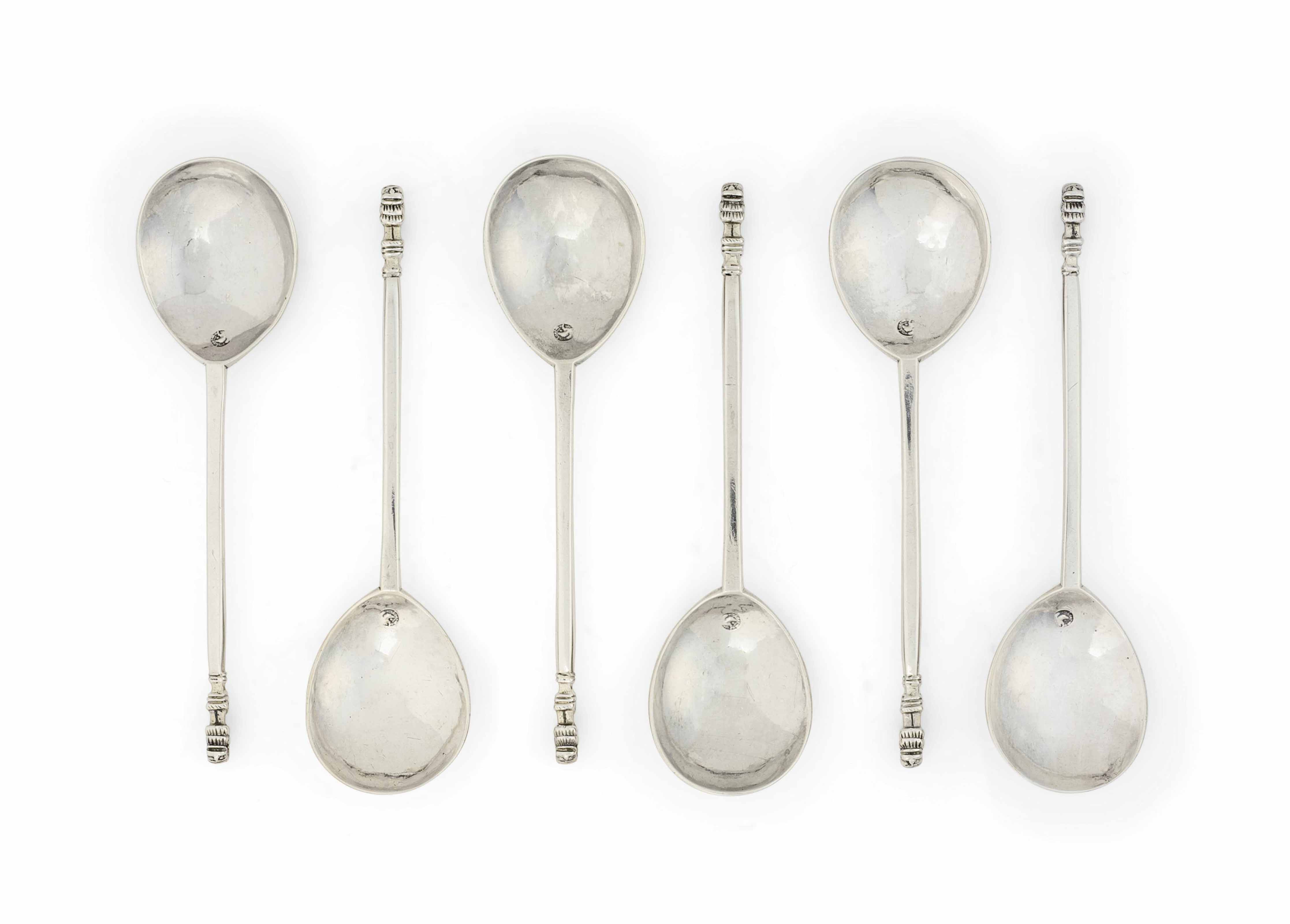 A SET OF SIX CHARLES I SILVER LION SEJANT SPOONS
