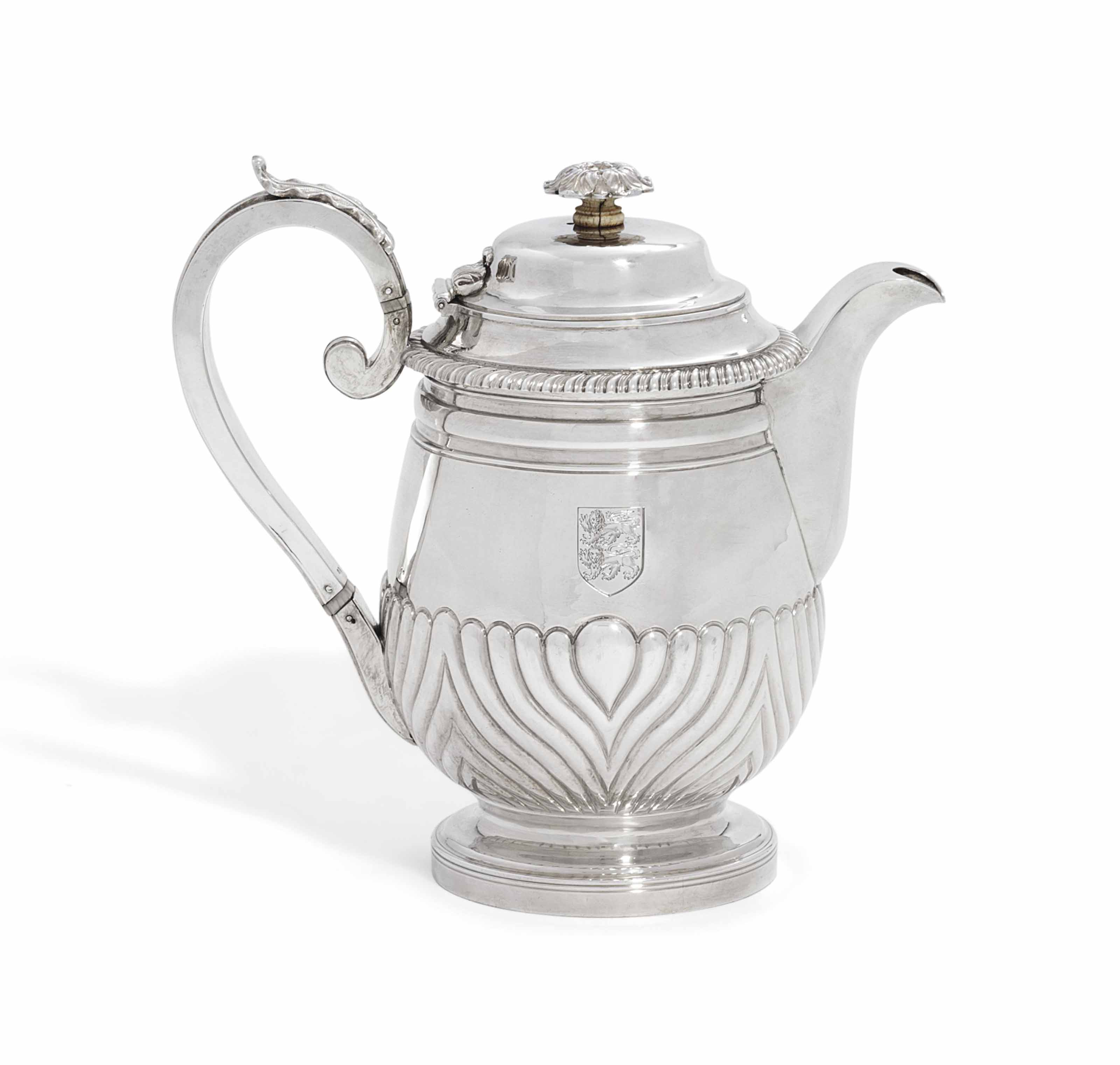 A GEORGE III SILVER COFFEE-BIGGIN