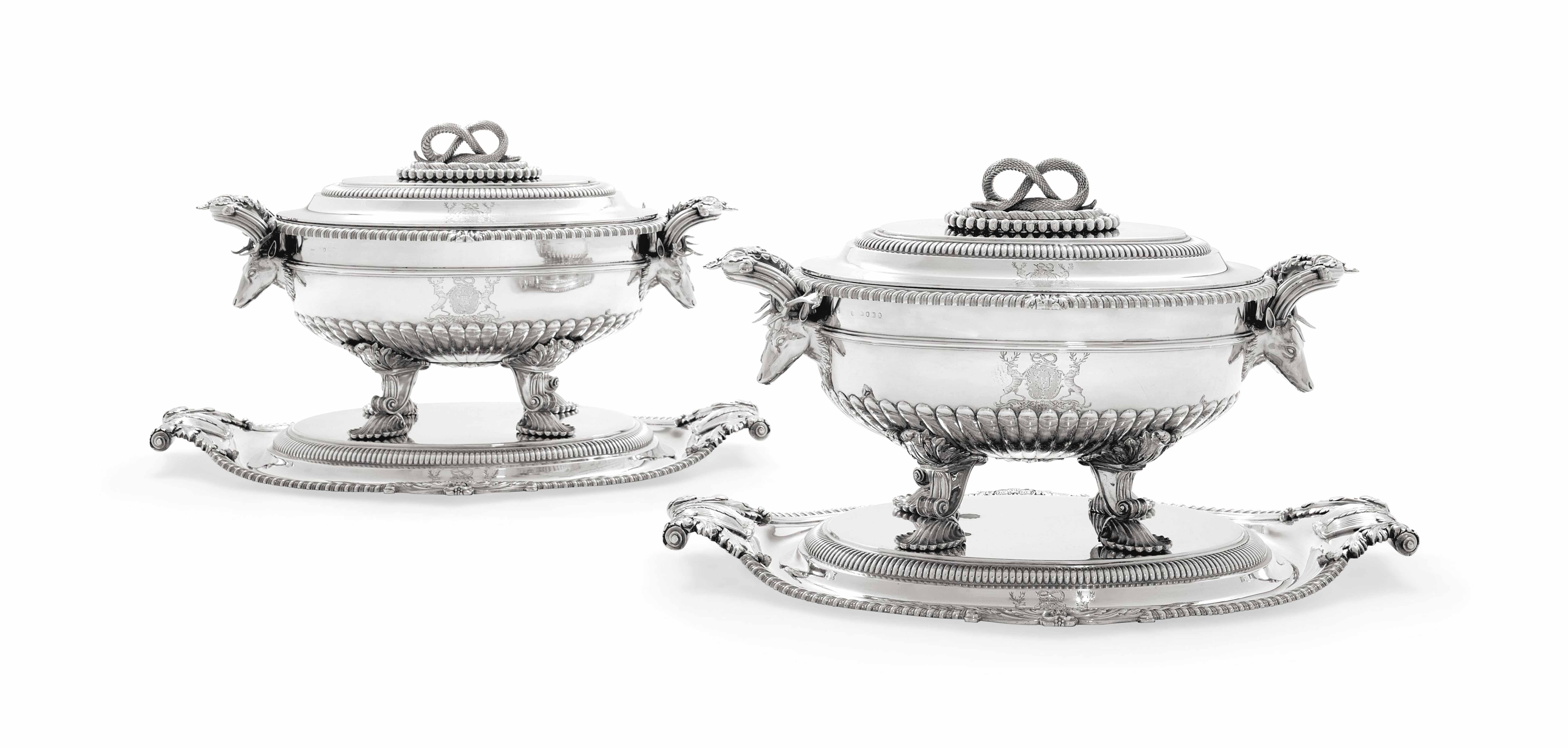 A PAIR OF GEORGE III SILVER SOUP-TUREENS, COVERS, STANDS AND LINERS