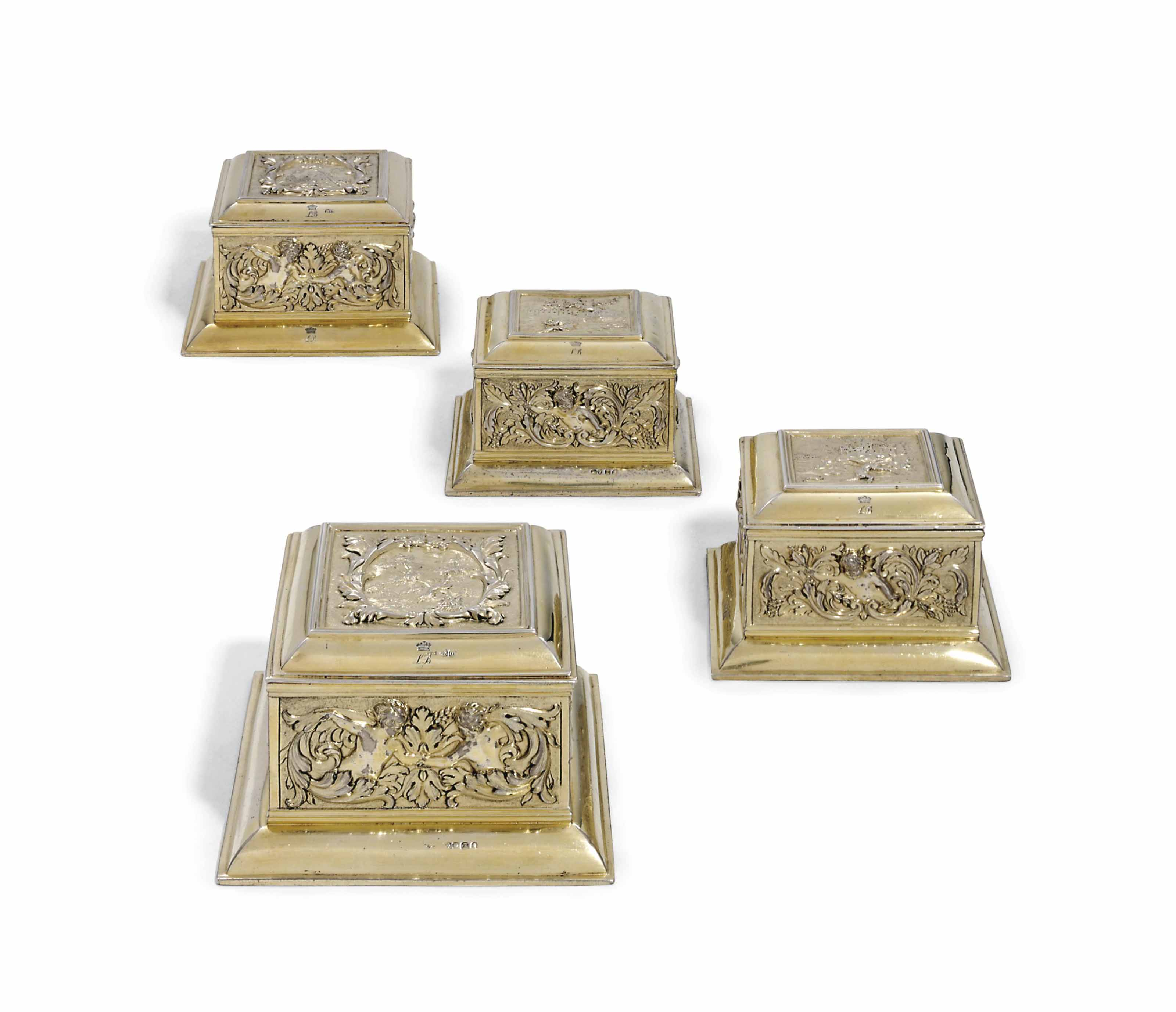 A SET OF FOUR GEORGE IV SILVER-GILT DRESSING-TABLE BOXES FROM LOUISA, VISCOUNTESS BERESFORD'S TOILET-SERVICE
