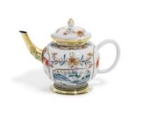 WILLIAM BECKFORD'S CARP PATTERN TEAPOT A GEORGE IV SILVER-GILT MOUNTED CHINESE-EXPORT PORCELAIN TEAPOT