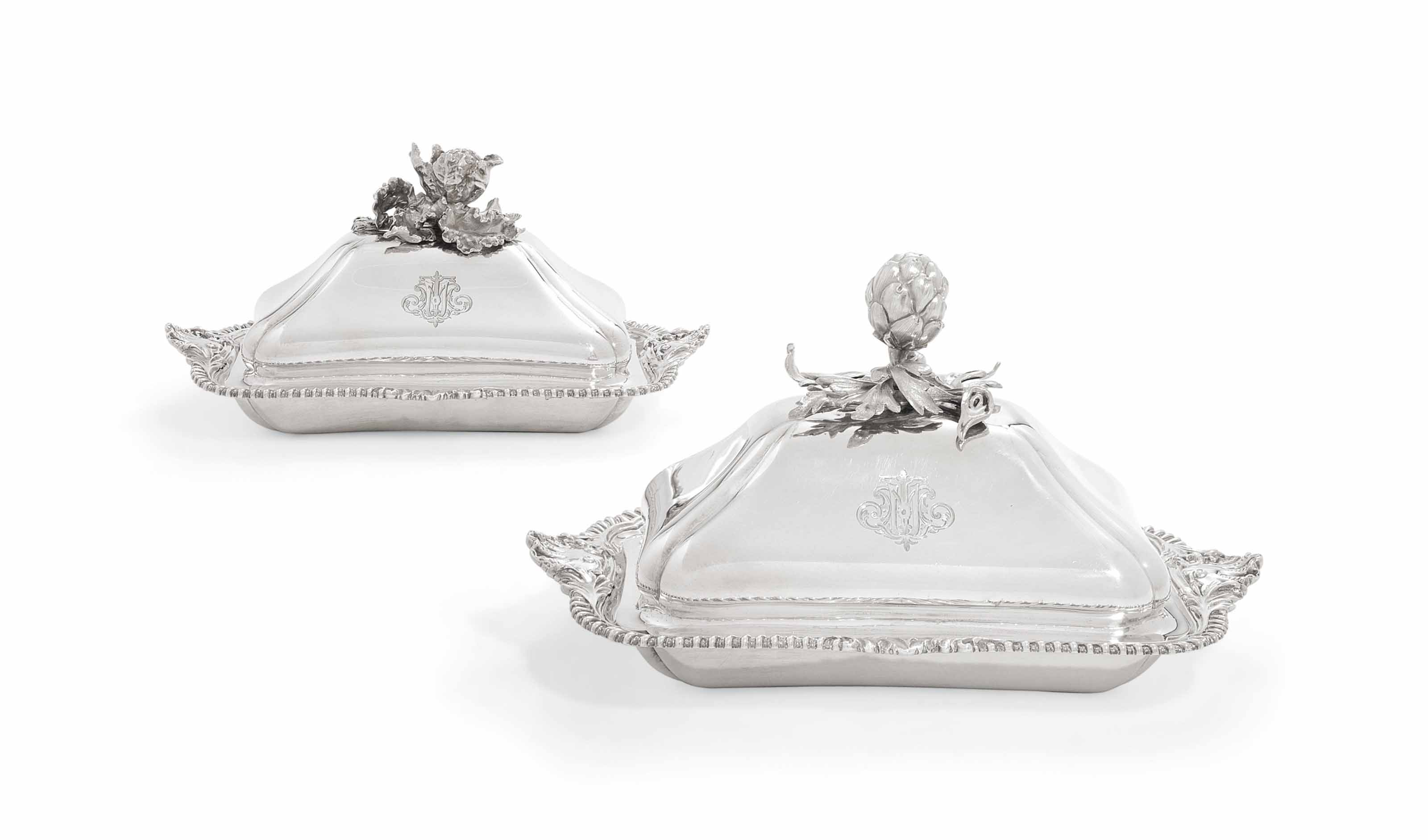 A PAIR OF VICTORIAN SILVER ENTREE-DISHES AND COVERS