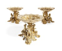 A SET OF THREE VICTORIAN SILVER-GILT DESSERT-STANDS