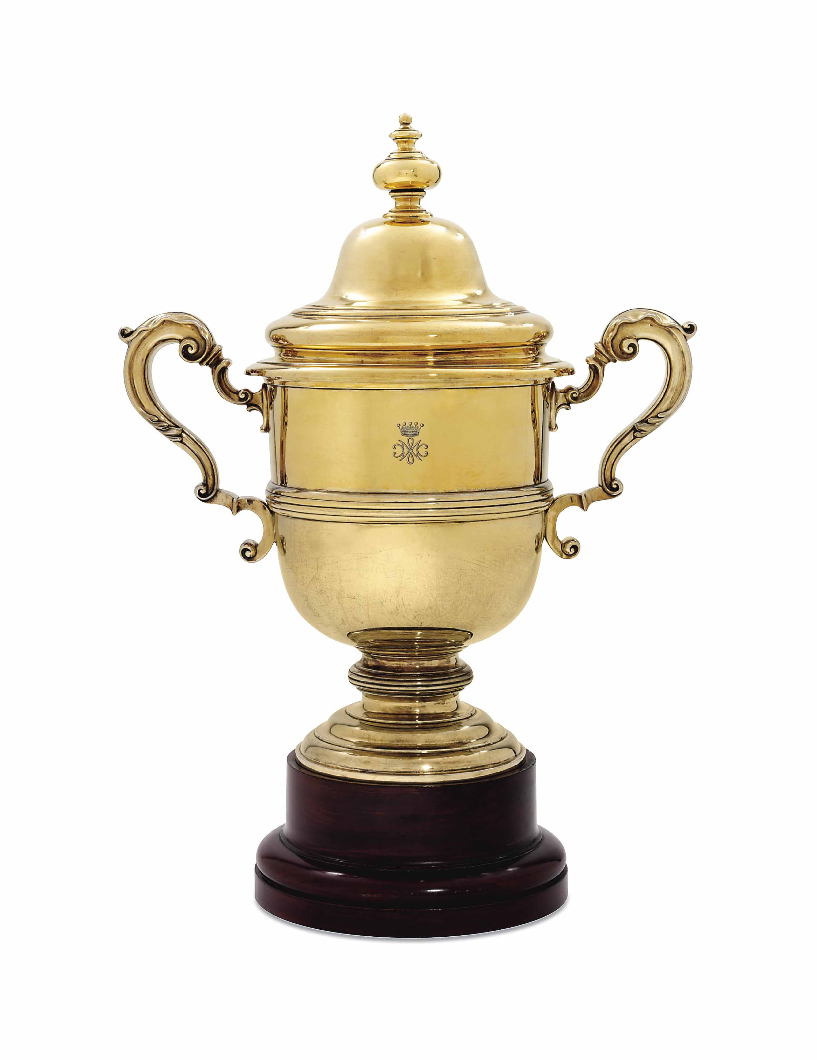 A GEORGE V SILVER-GILT CUP AND COVER