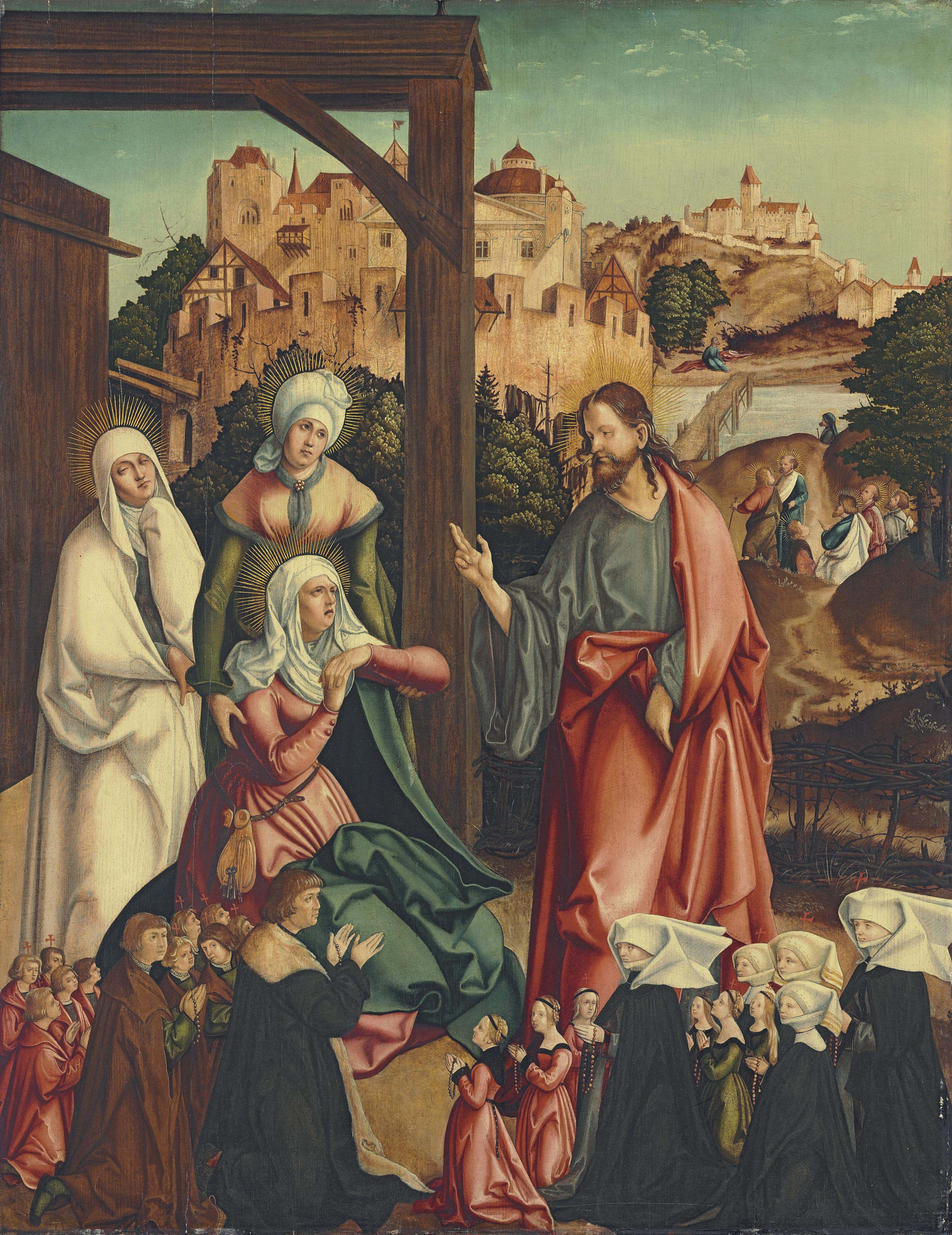 Christ taking leave of his Mother, with a donor family kneeling in the foreground