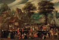A village festival with elegantly dressed figures in procession, a river and tower beyond