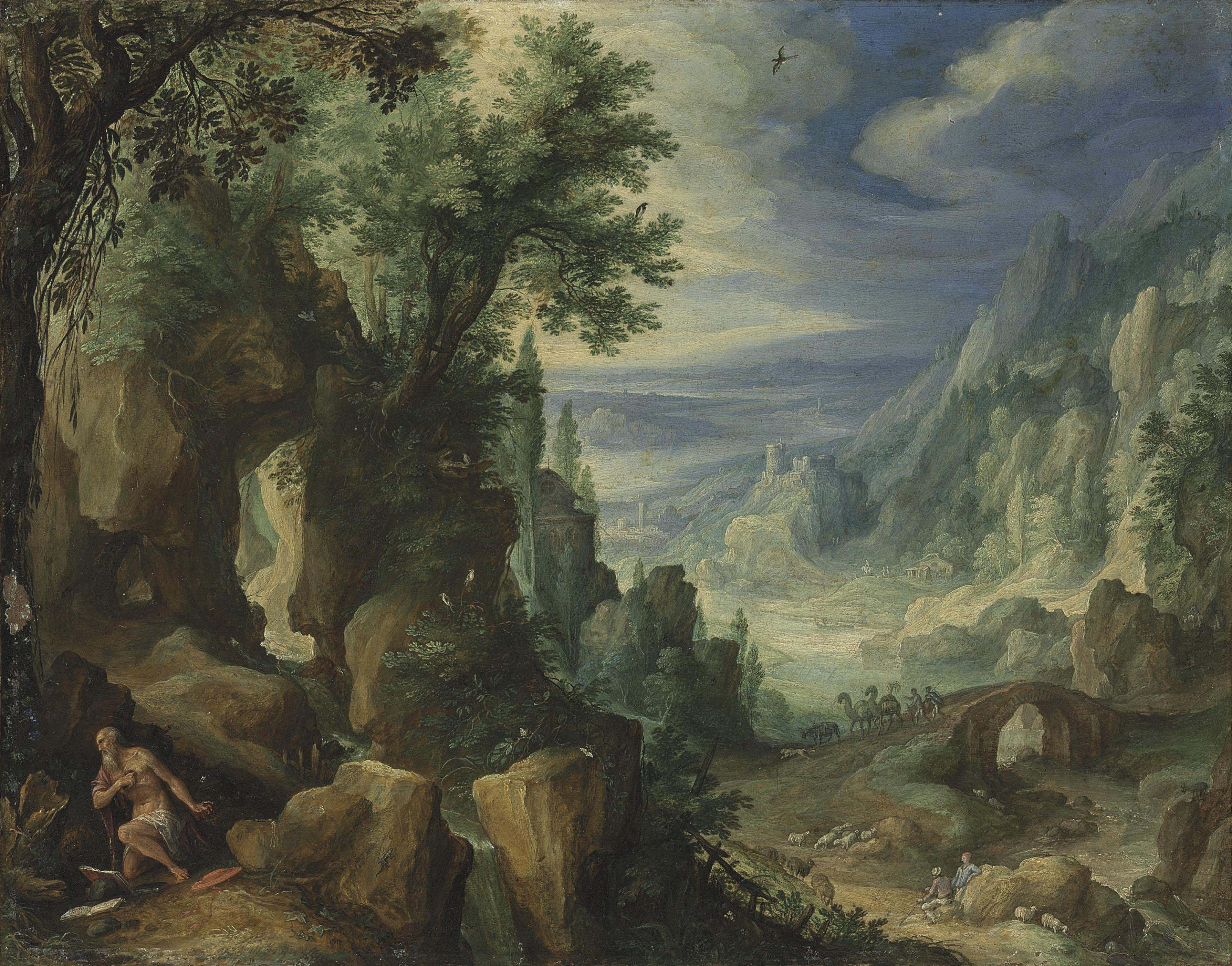 Saint Jerome praying in a rocky landscape