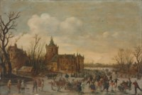 A winter landscape with figures skating in front of Monfoort castle