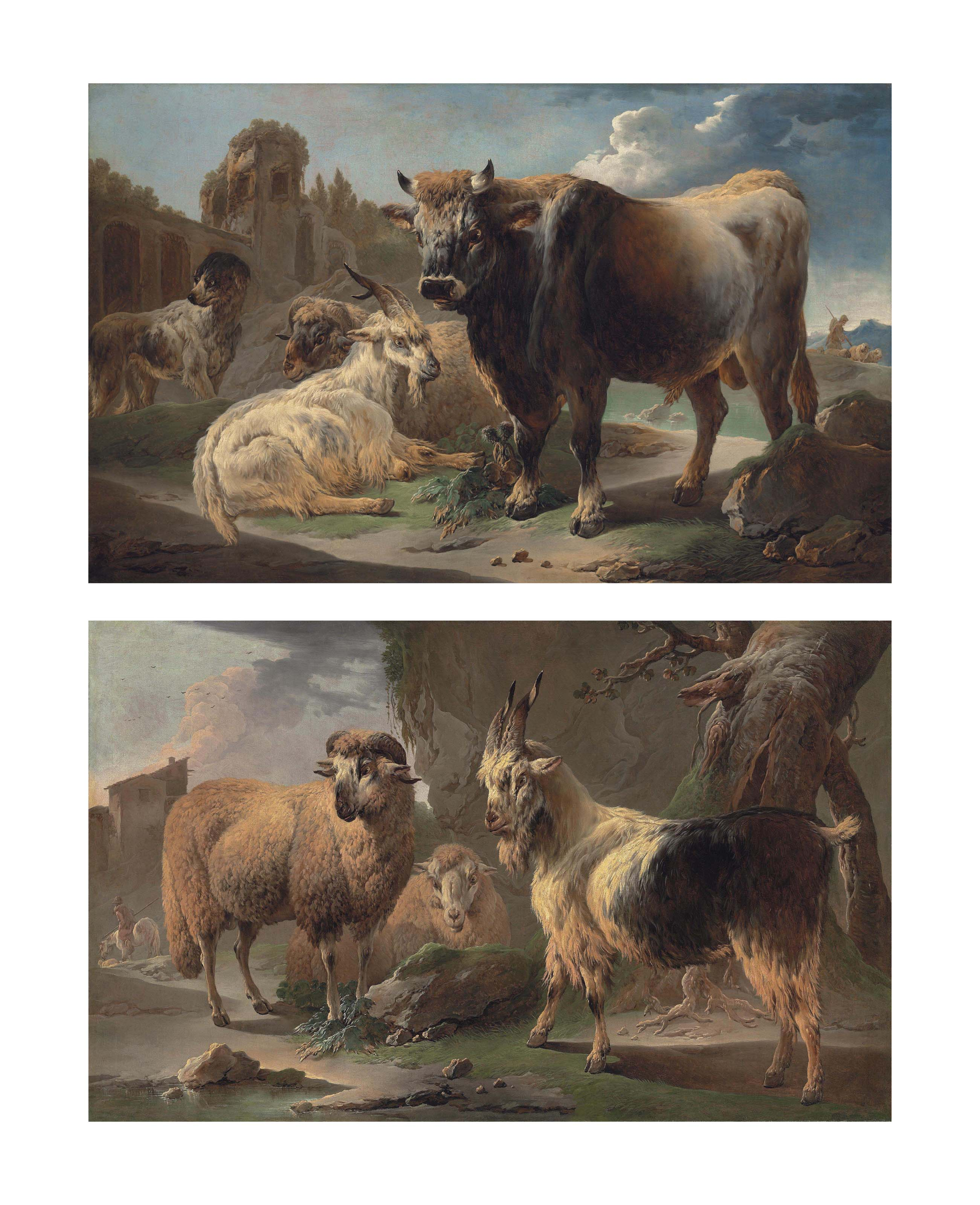 A bull, goat, ram and sheepdog before ruins in a rocky landscape; and A sheep and a goat, with a horseman beyond in a rocky landscape