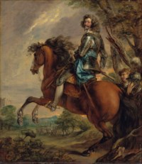 Equestrian portrait of Albert, duc d'Arenberg, prince of Barbonçon (1600-1674), in armour, with a blue sash, in a wooded landscape, a battlefield beyond, after Sir Anthony van Dyck