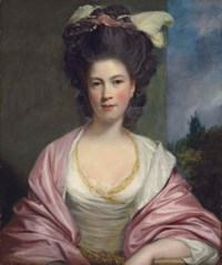 Portrait of Elizabeth, Lady Forbes (c. 1750-1802), half-length, in a white dress and a pink mantle, with feathers, ribbons and pearls in her hair