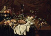 Grapes, peaches, plums, lemons, oranges, a conch, an ornamental roemer, a ham, a minced pie and a gilt locket on a green velvet cord, on a wooden table with white and green drapes