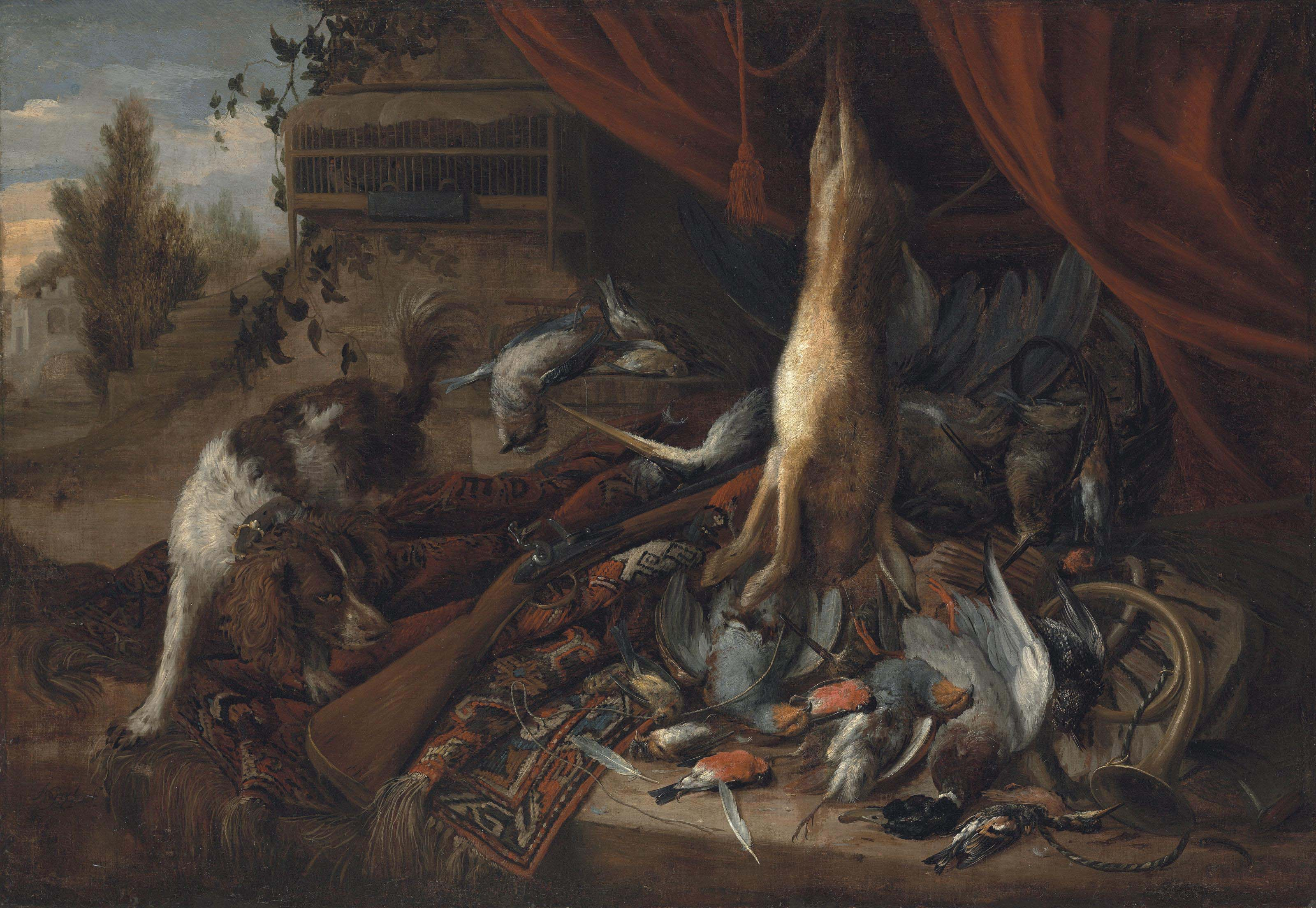 A hare, blue and yellow tits, a jay, a mallard duck, snipes and a heron on a stone ledge, with a spaniel and a rifle on a carpet, before a draped curtain, in a park landscape