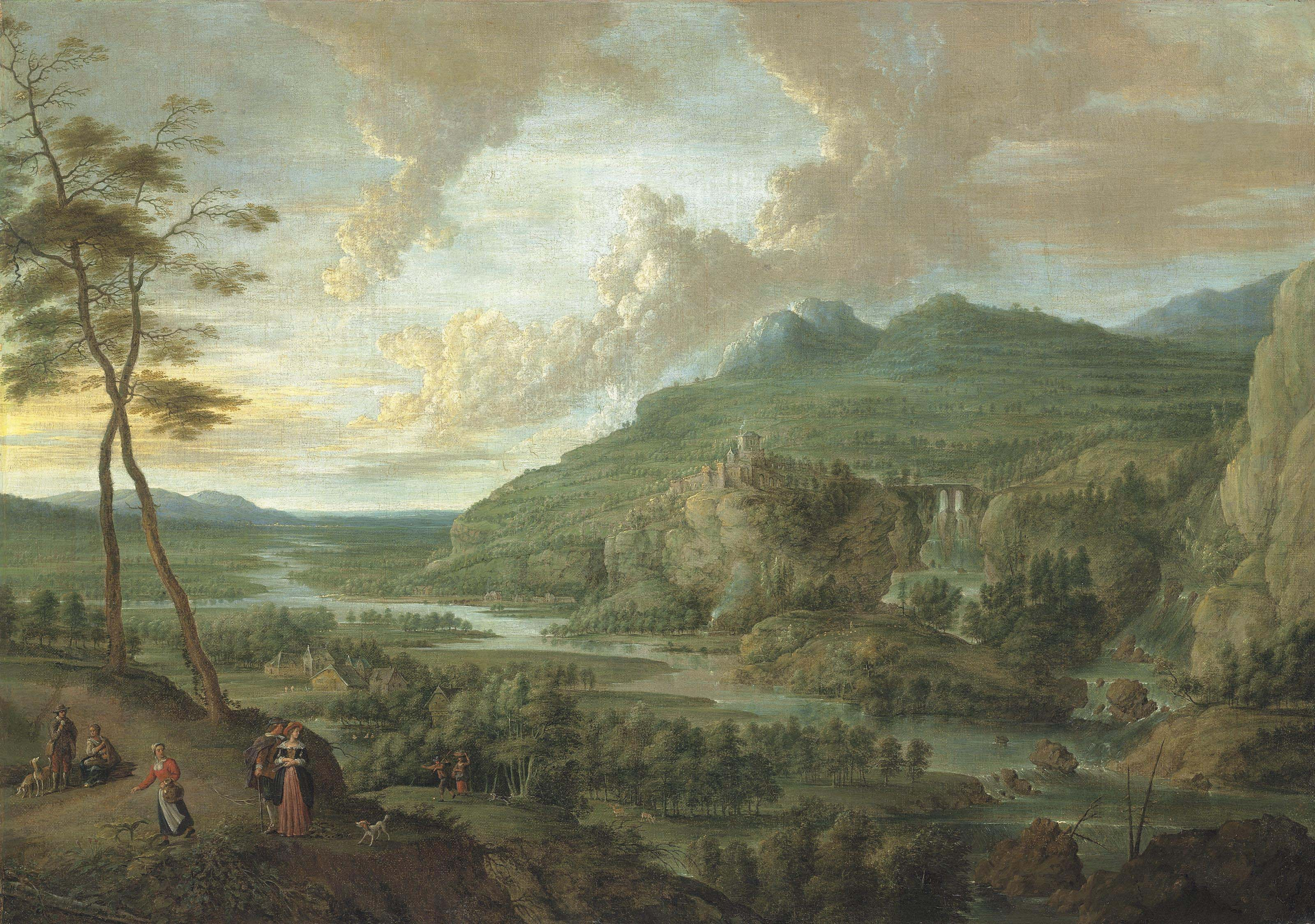 An extensive wooded river landscape with figures on a path in the forground, a village and a fortess in mountains beyond