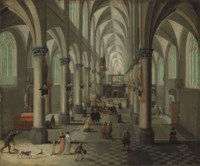 Interior of a Gothic church with elegant figures and dogs in the foreground and a Mass beyond