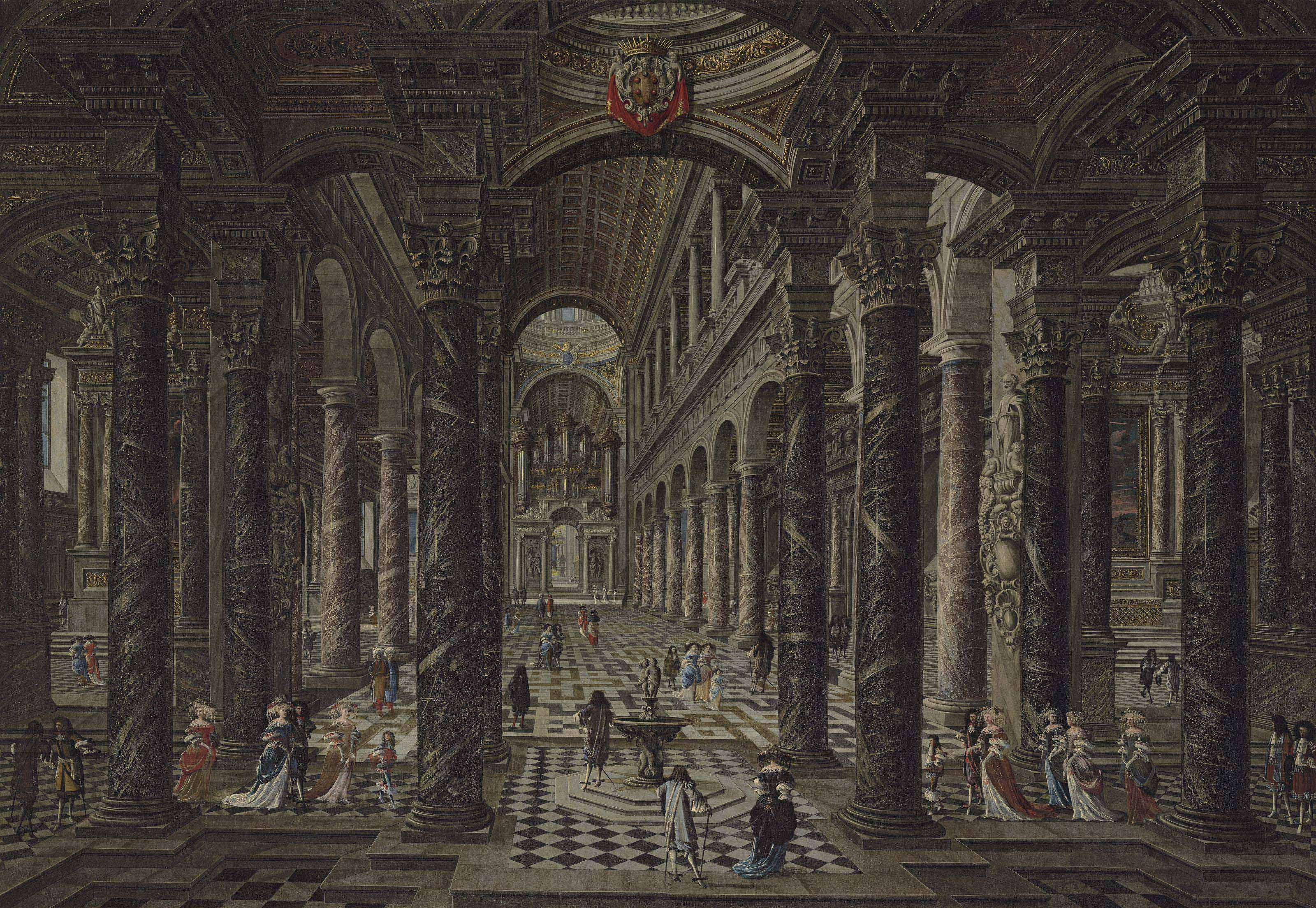 Interior of a Baroque church with elegant figures