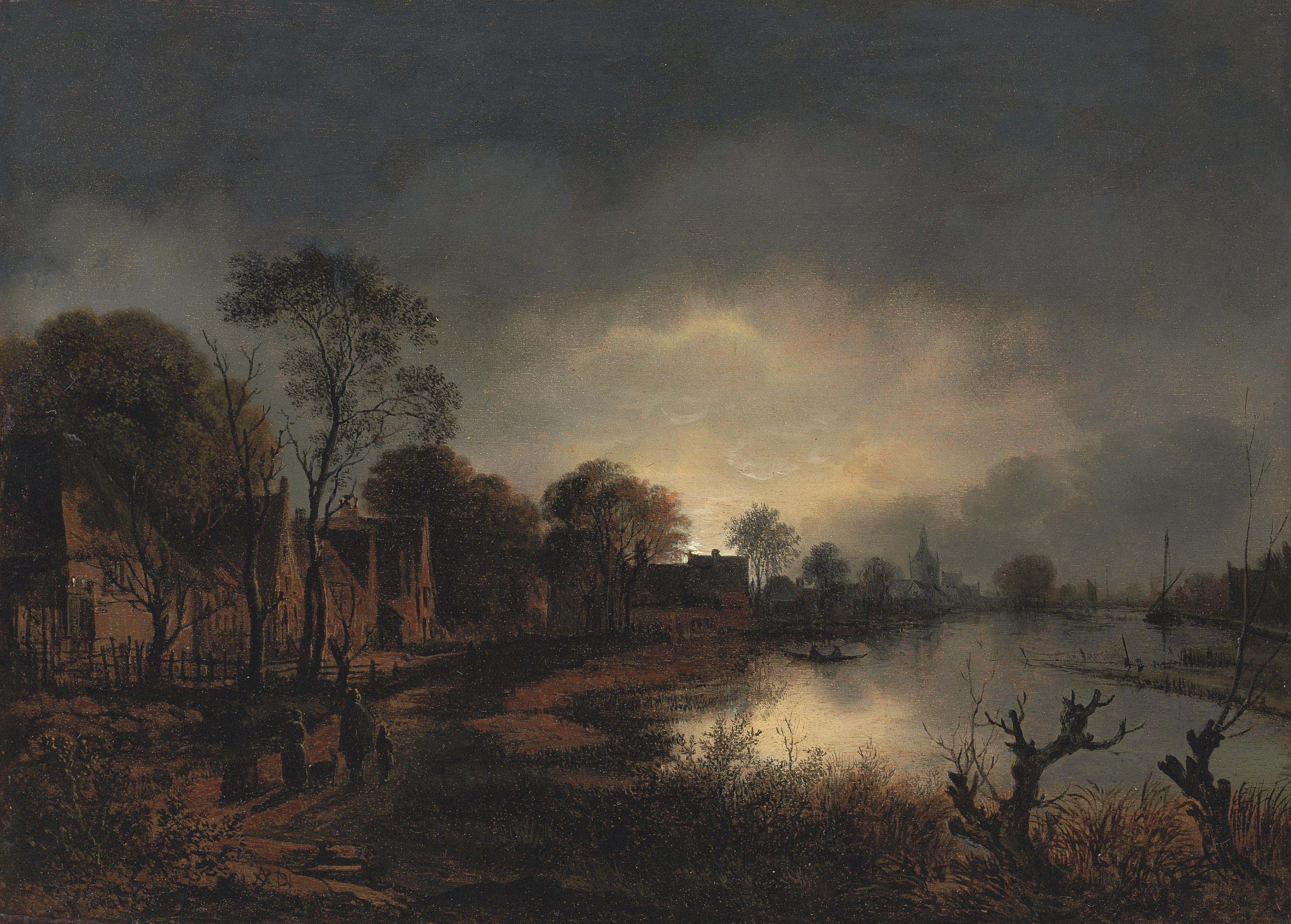 A river landscape at dusk with figures walking along a path, a church in the distance
