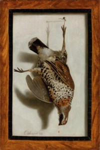 A trompe l'oeil with a grouse hanging from a nail