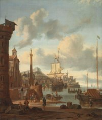 A capriccio of a Mediterranean harbour with a Dutch ship at anchor, a churchyard with a classical column on the embankment, figures descending to the beach