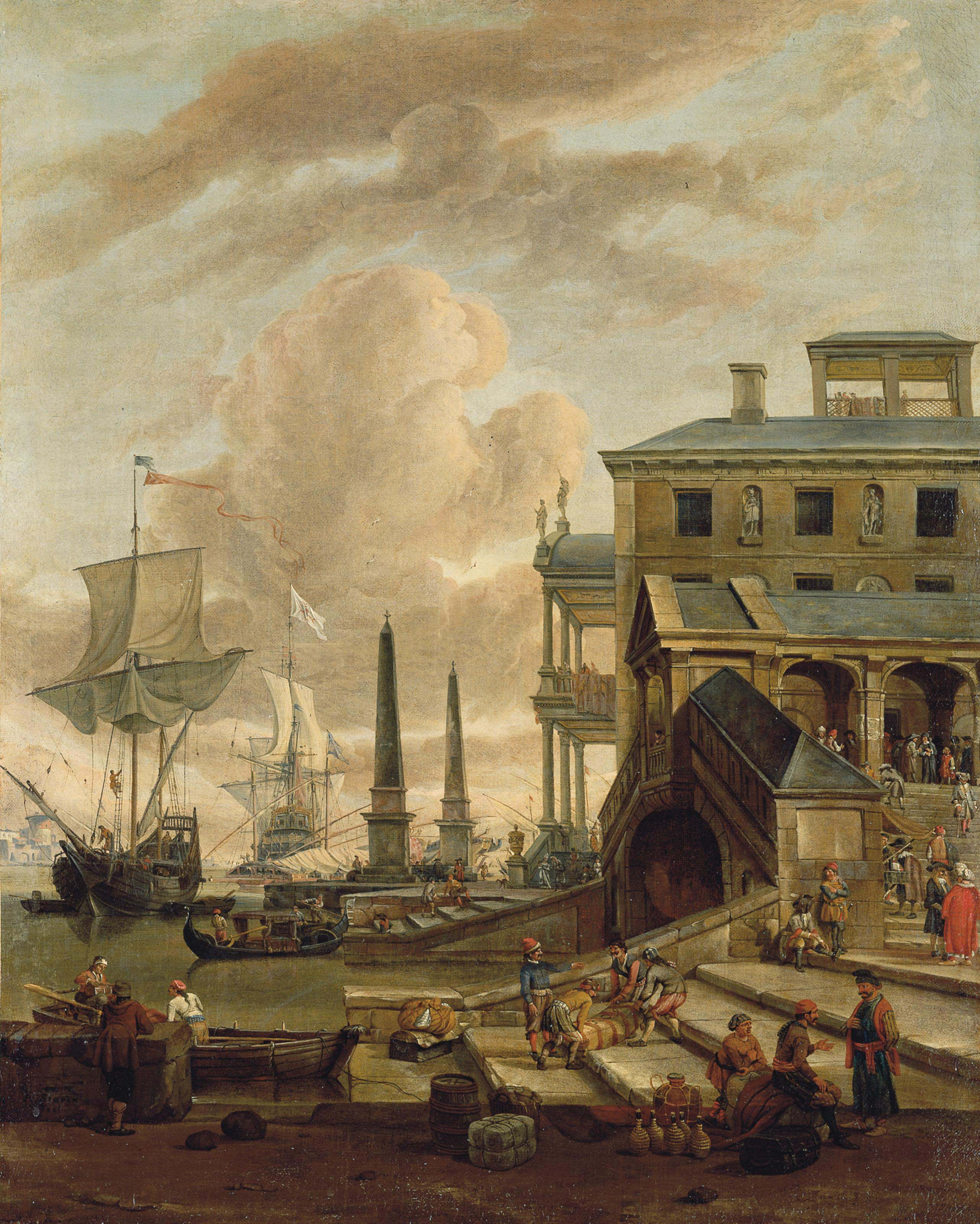 A capriccio of a Mediterranean harbour with stevedores, orientals and elegant figures, with ships beyond