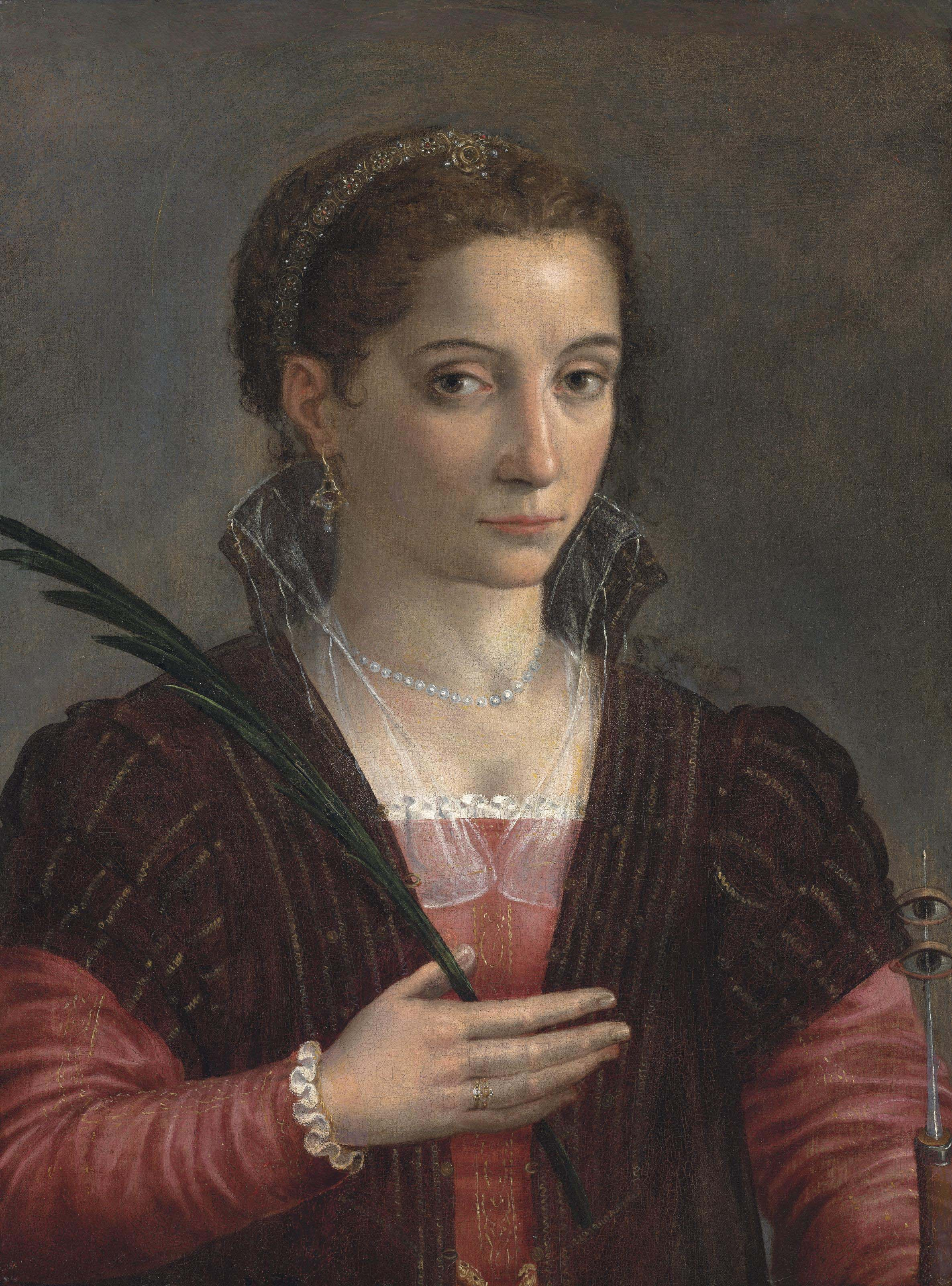 Portrait of a lady, as Saint Lucy, half-length, in a red embroidered dress and brown mantle