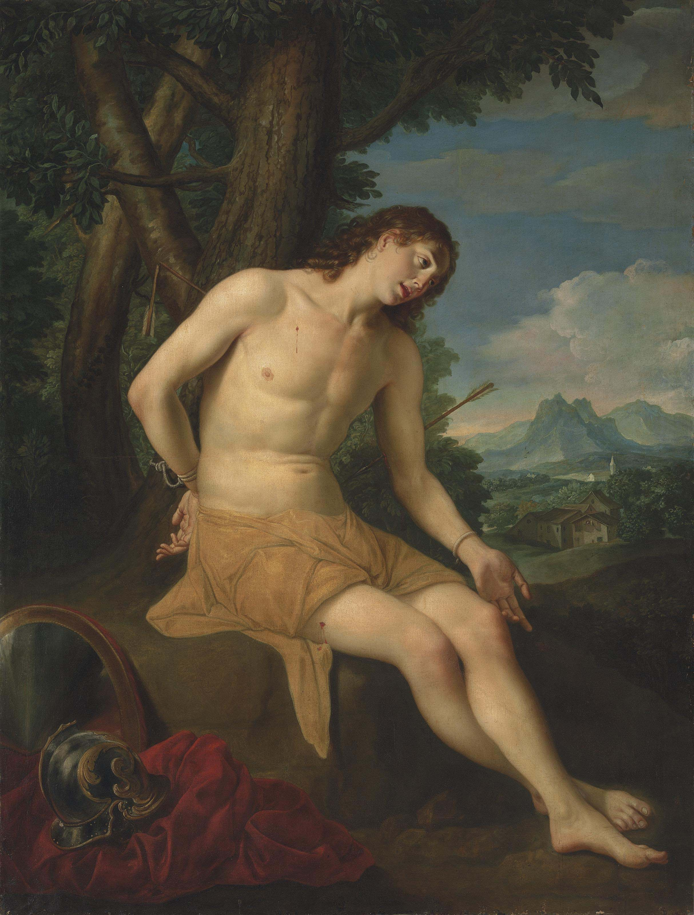 Saint Sebastian, in an extensive mountainous landscape