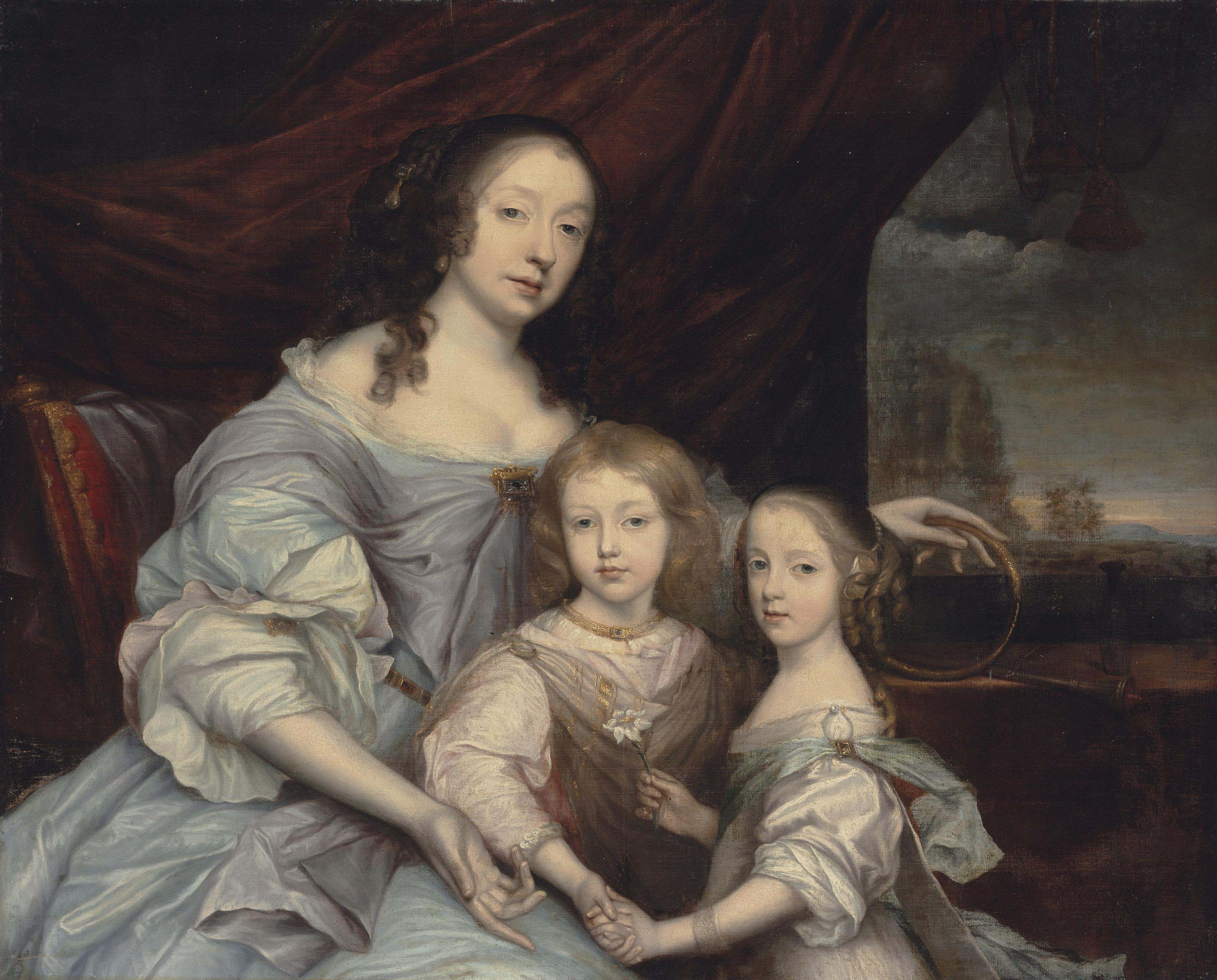Portrait of Mary Villiers, Duchess of Lennox and Richmond (1622-1685), half-length, in a blue dress, her left hand resting on an Ouroboros, with her children, Esmé (1649-1660) and Mary (1651-1668) Stuart, before a draped curtain, a landscape beyond