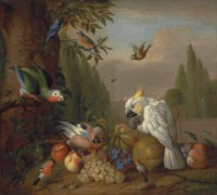 A cockatoo, a parrot, a jay and other birds, with grapes, peaches, plums and a melon, in a park landscape