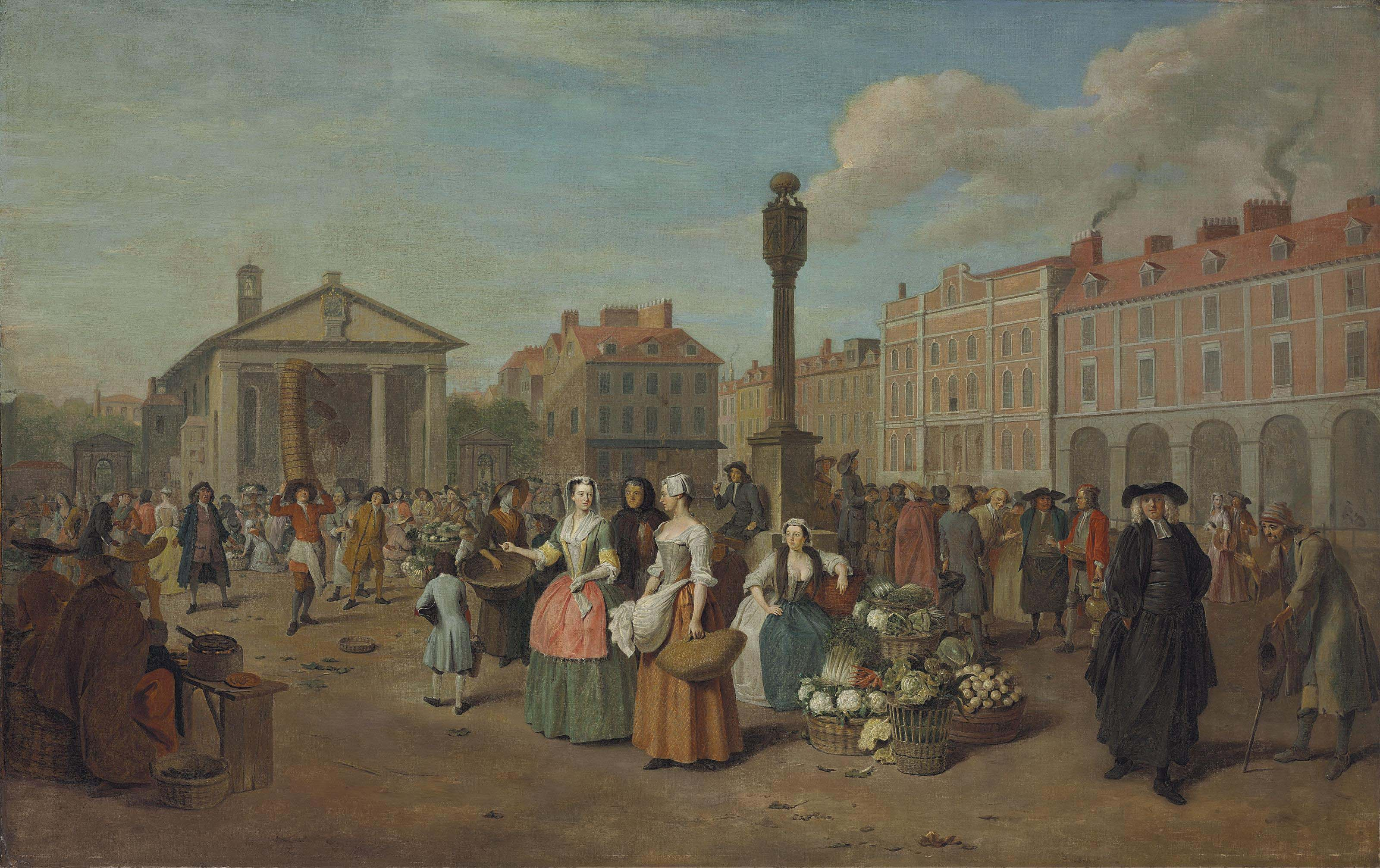 A view of Covent Garden, London, on market day