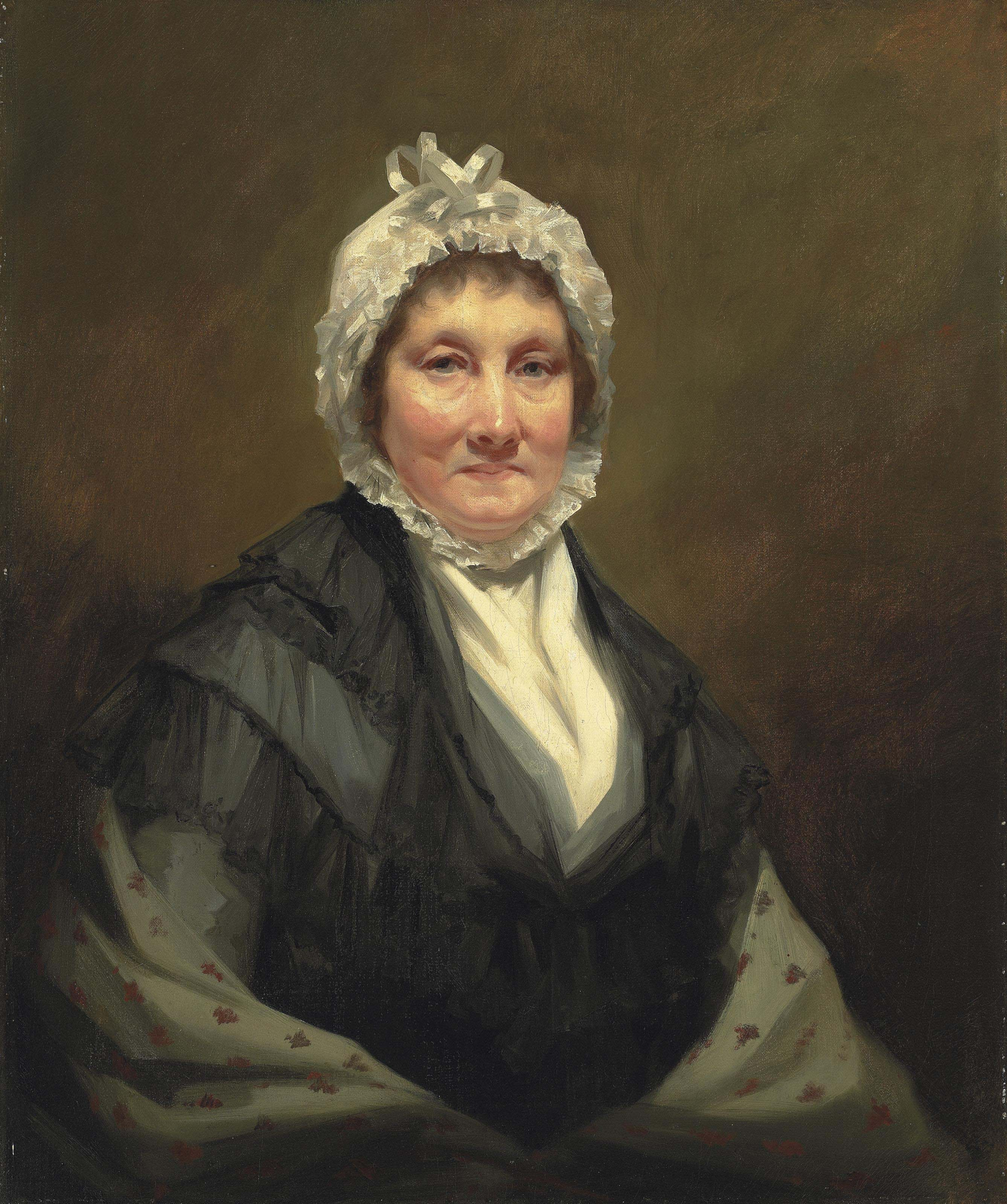 Portrait of the Hon. Mrs. King, of Dunira, half-length, in a black dress and a grey shawl, with a white bonnet