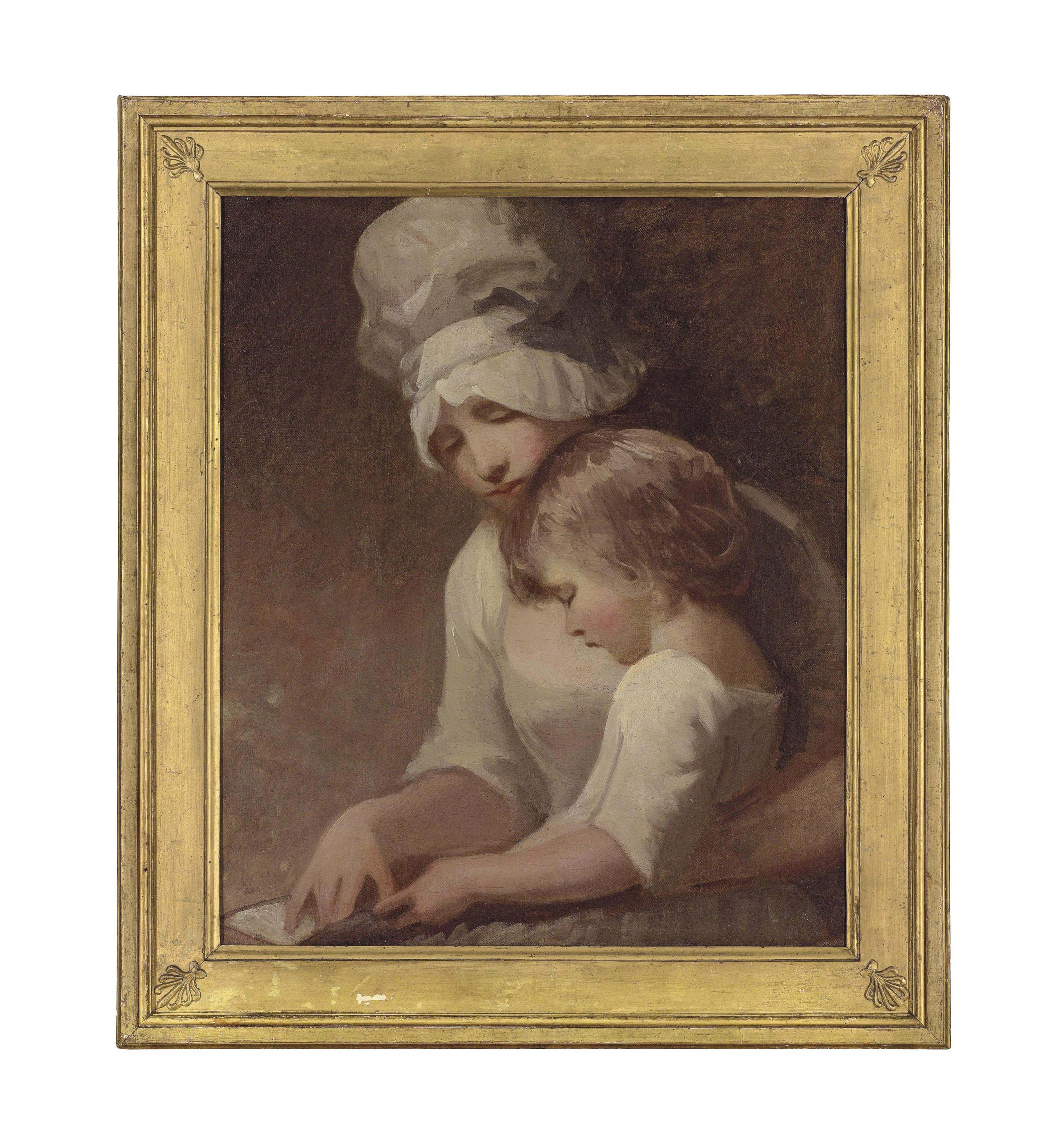 Portrait of a lady and a child, traditionally identified as Mrs Cumberland and her son, Charles, half-length, in a white dress and bonnet
