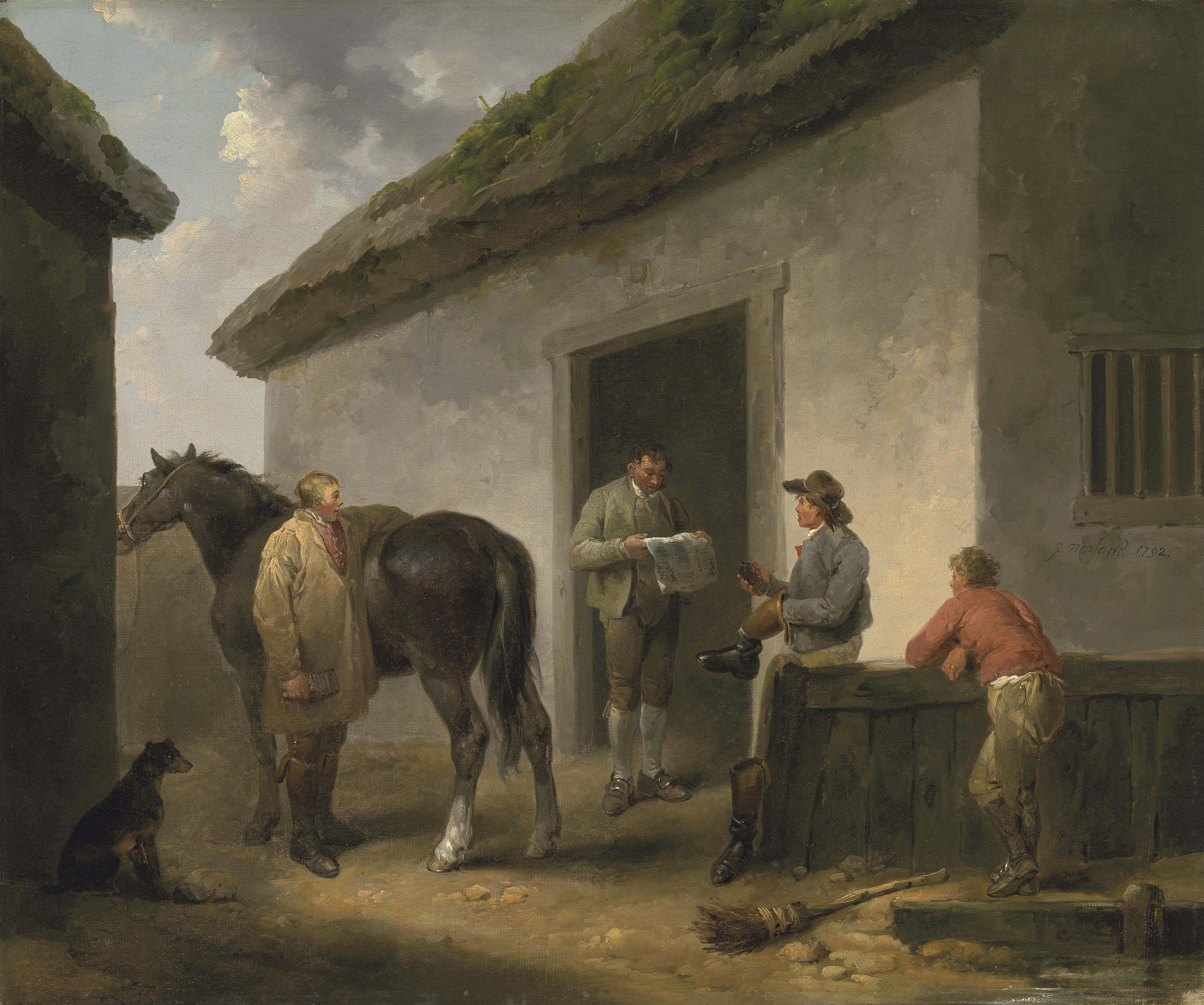 Reading the News: Horse and grooms outside a stable