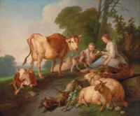 A shepherdess and a boy with cattle and sheep in a wooded landscape