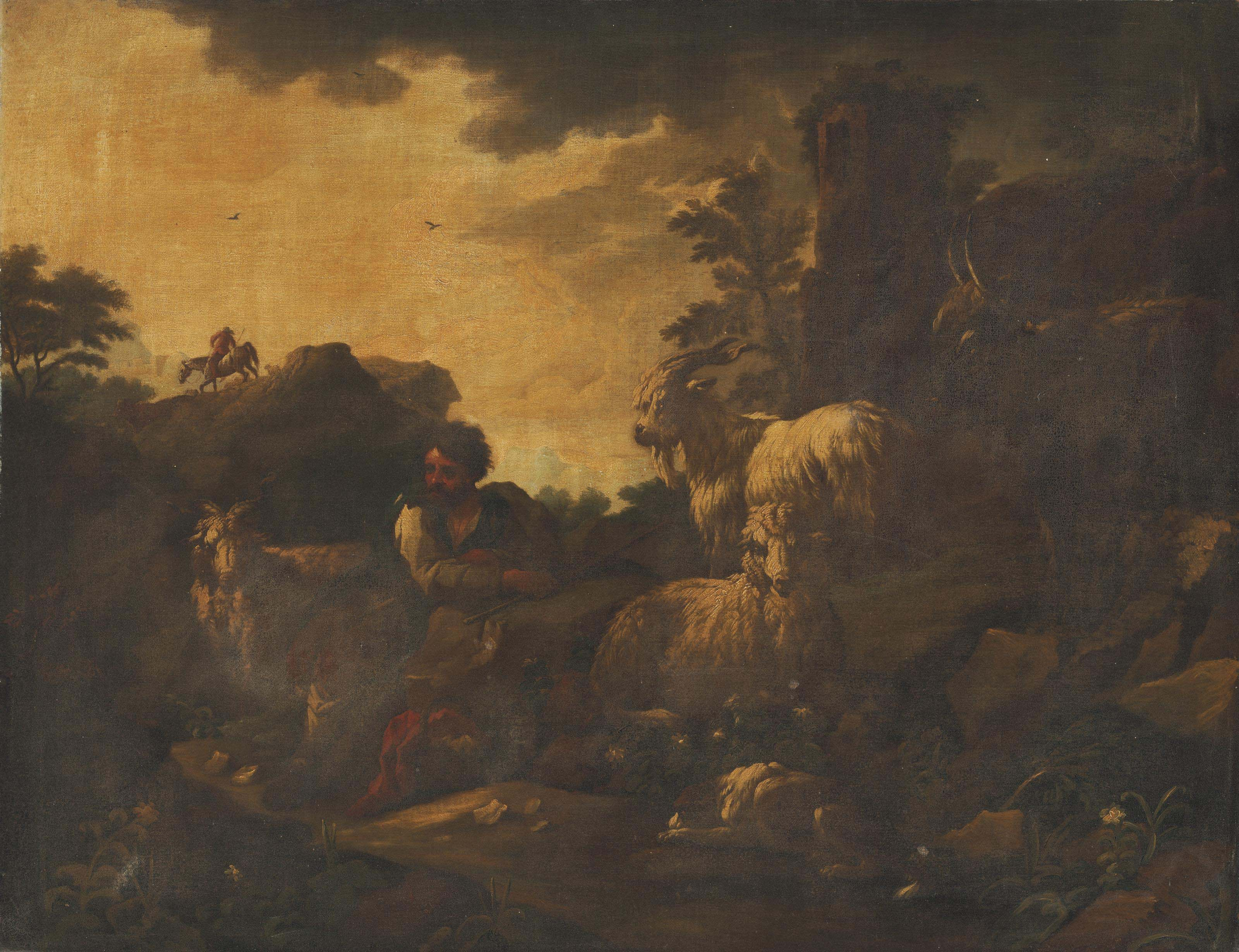 An Italianate wooded landscape with a goatherd and his flock in the foreground
