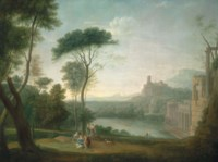 An extensive Italianate wooded landscape, with classical buildings by a river, the nymph Egeria mourning over Numa in the foreground