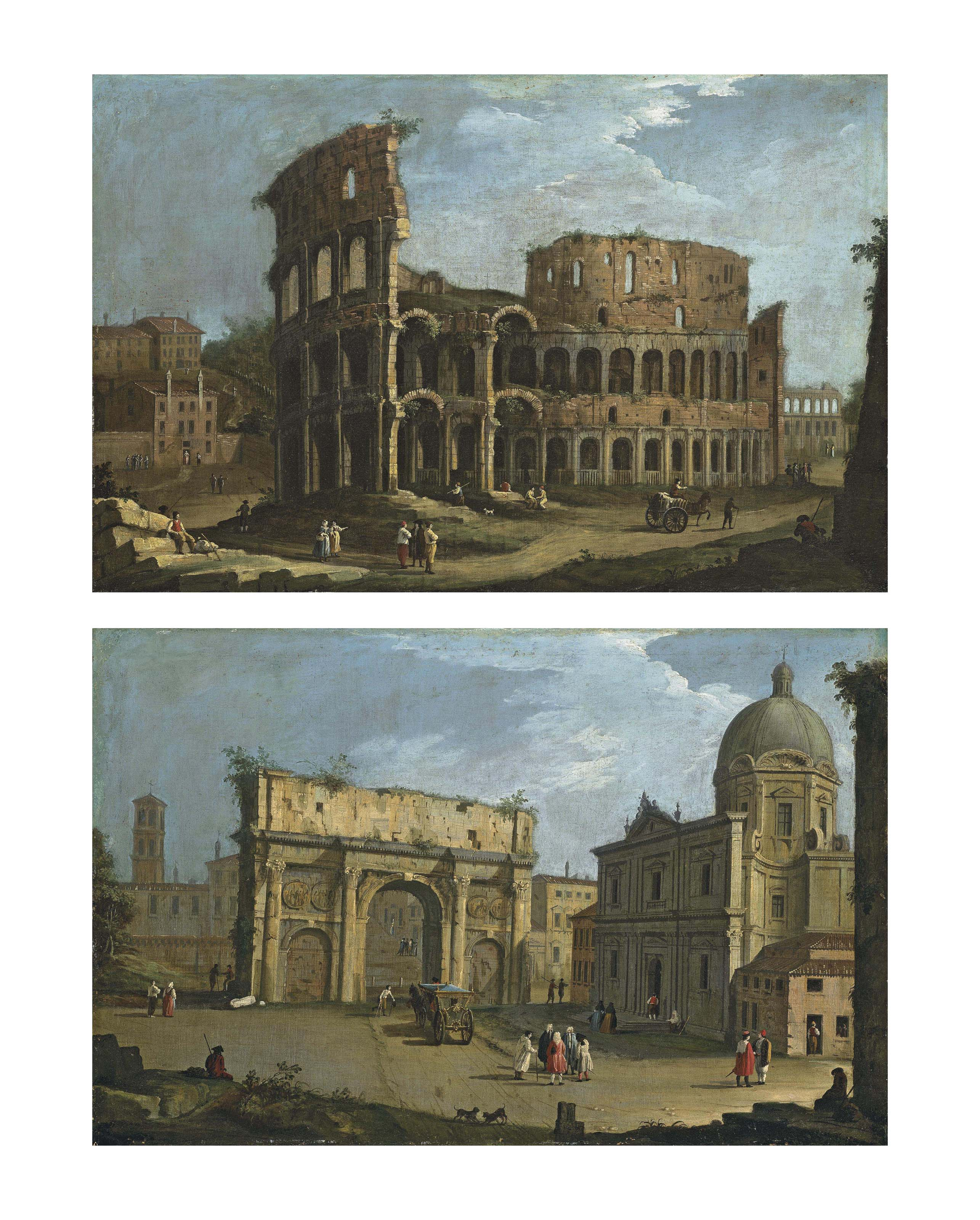 Views of Rome: The Colosseum; and The Arch of Septimius Severus, with the church of San Luca and Santa Martina