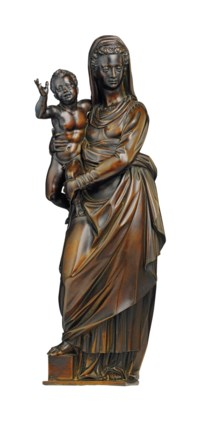 A BRONZE GROUP OF THE VIRGIN AND CHILD