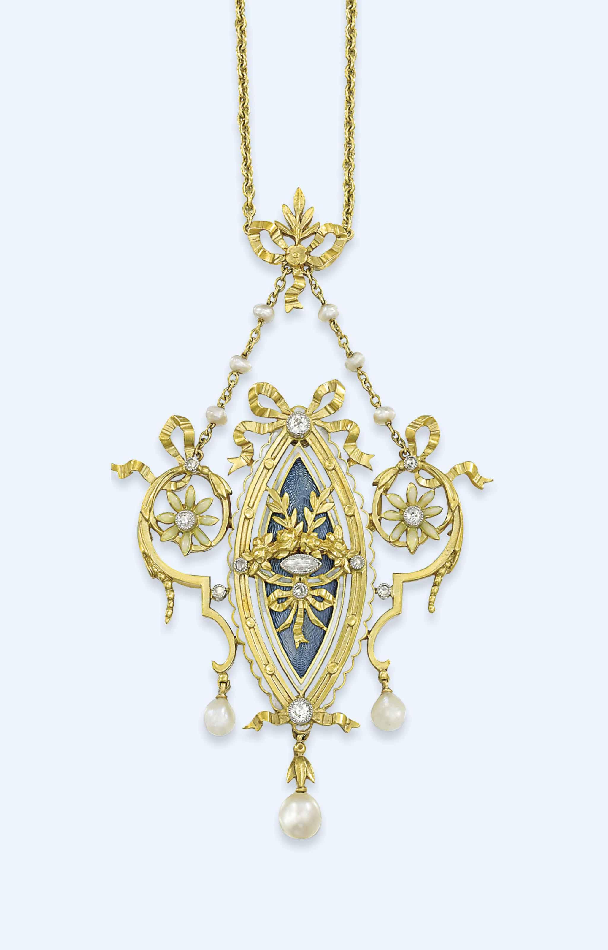 A BELLE EPOQUE DIAMOND AND ENAMEL PENDANT NECKLACE, BY LUCIEN GAUTRAIT