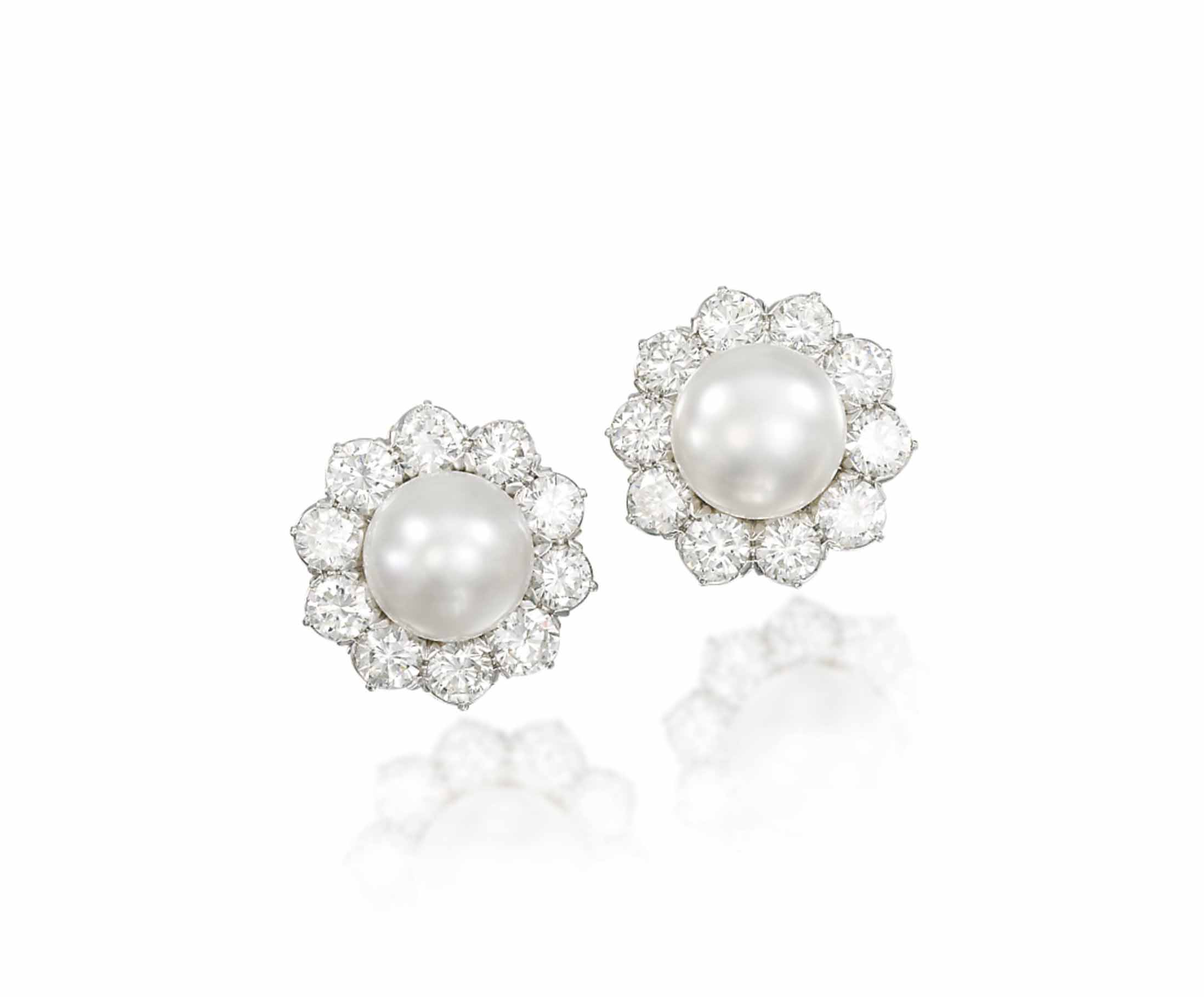 A PAIR OF CULTURED PEARL AND DIAMOND EAR CLIPS, BY VENTRELLA