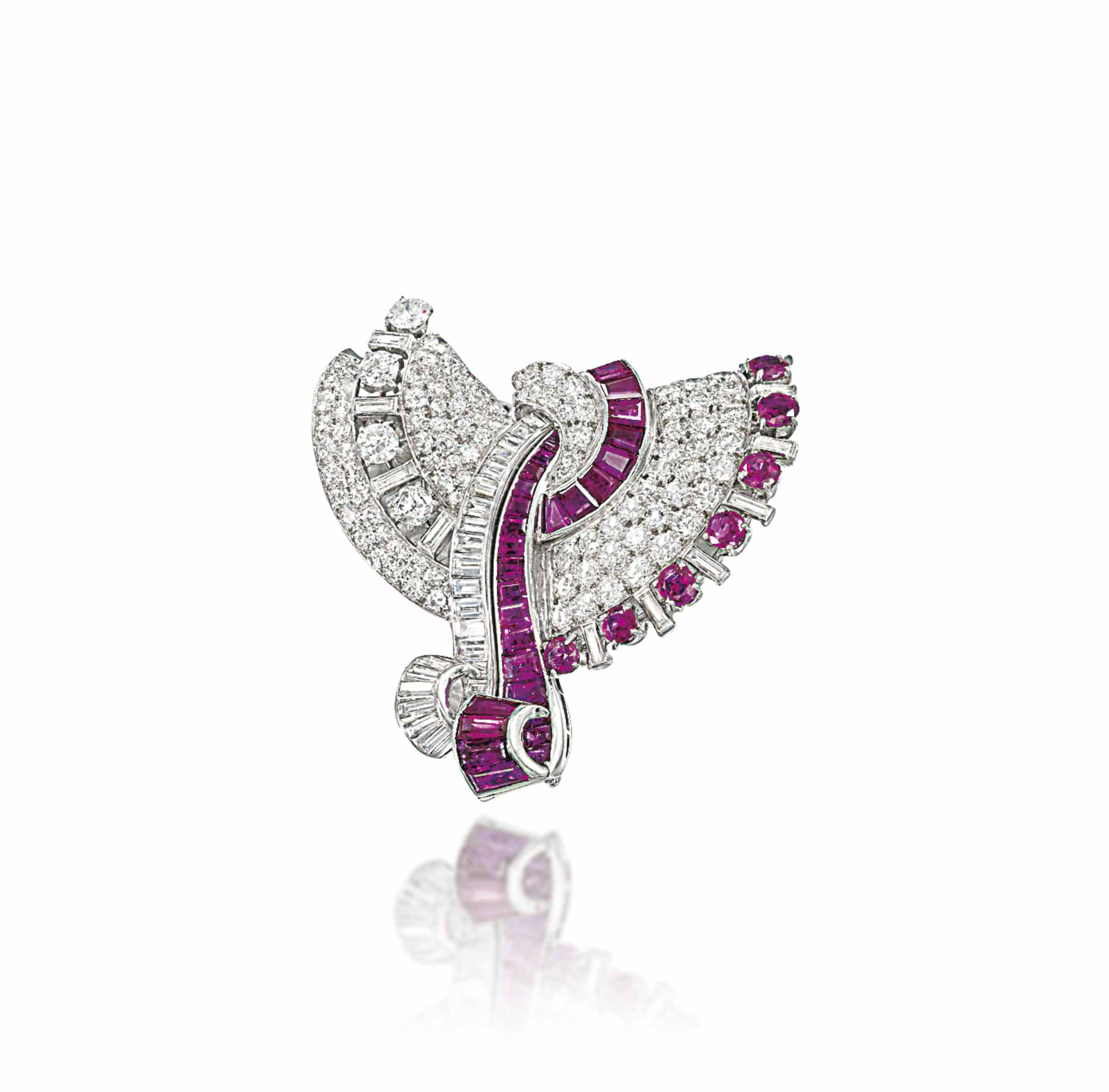 AN ART DECO RUBY AND DIAMOND DOUBLE CLIP BROOCH, BY DRAYSON