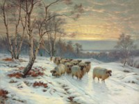 A shepherd with his flock in a Winter landscape